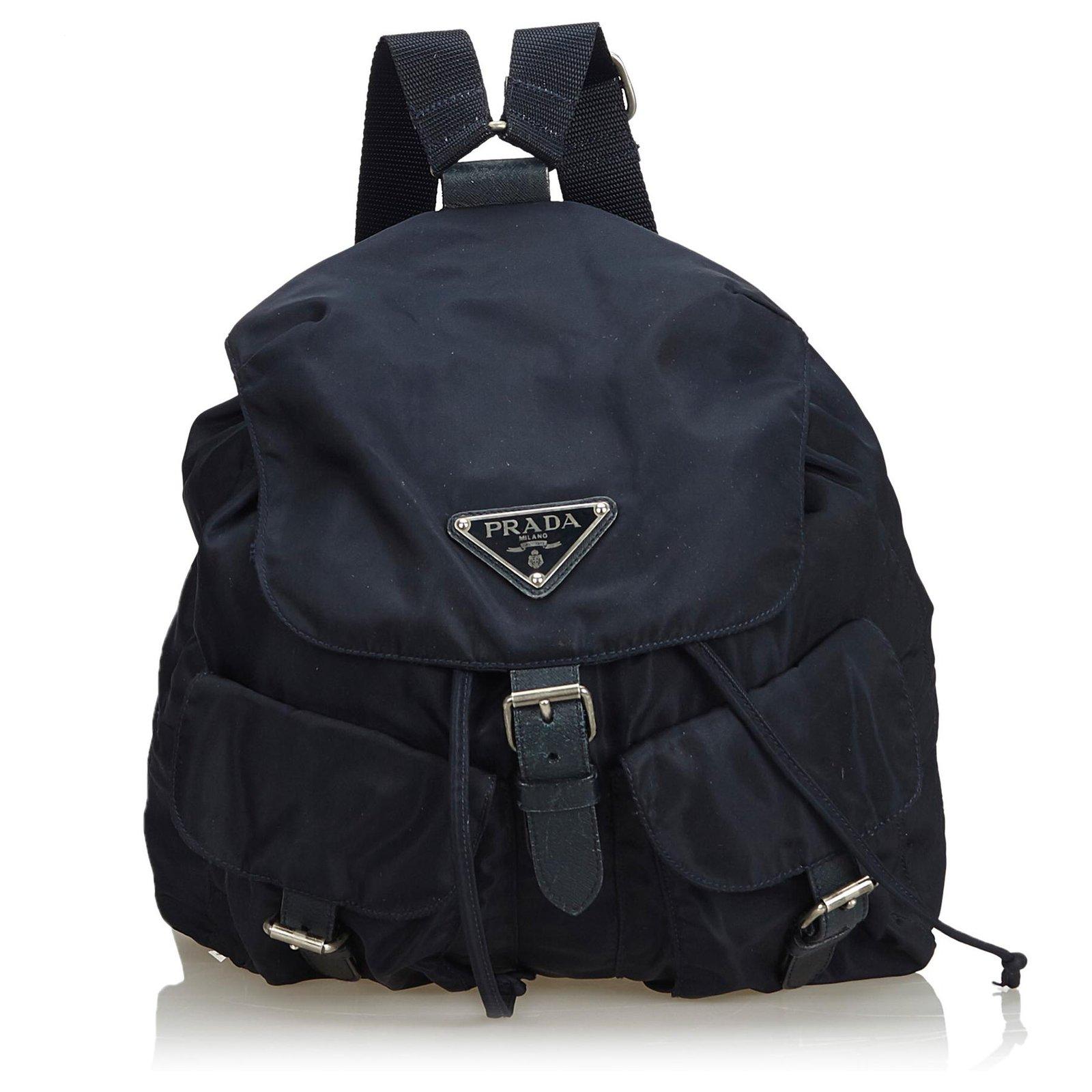 426ceb6d935f7c Prada Prada Blue Nylon Drawstring Backpack Backpacks Leather,Other,Nylon,Cloth  Blue,