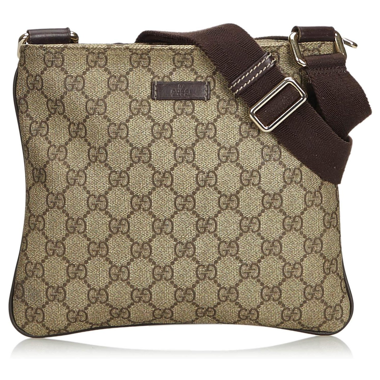 935314e0b Gucci Gucci Brown GG Supreme Coated Canvas Crossbody Bag Handbags Leather ,Other,Cloth,