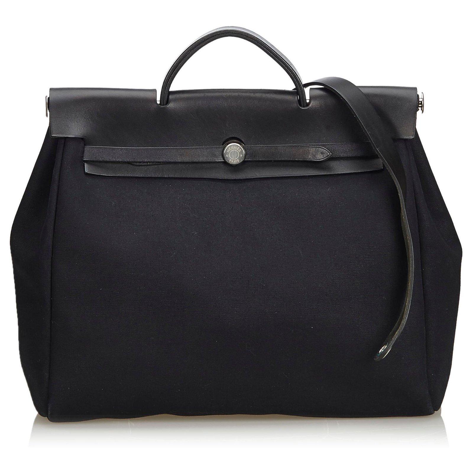 0f516ad04 Hermès Hermes Black Canvas Herbag MM Satchel Handbags Leather,Other,Cloth,Cloth  Black