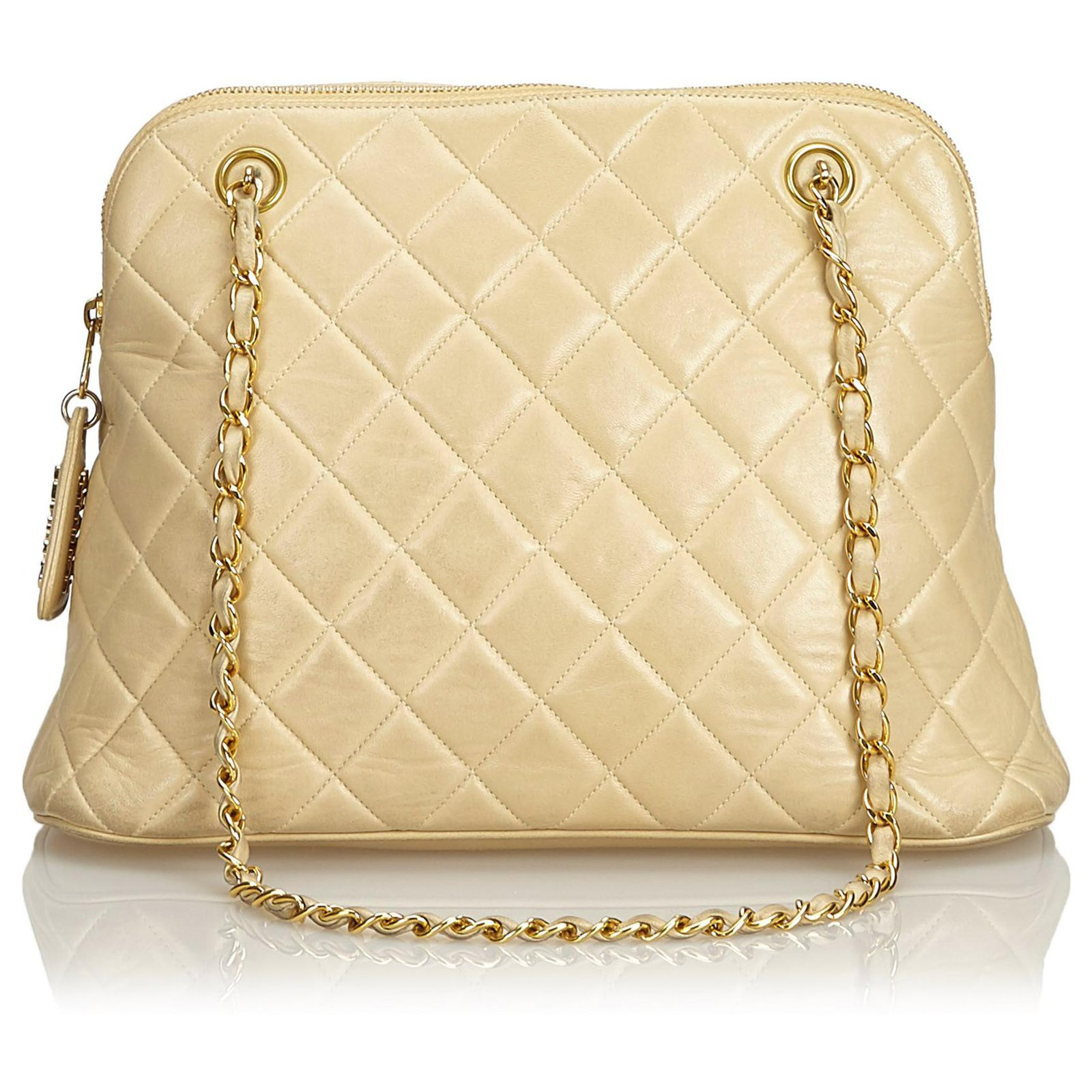 c75d9cb8a7c9 Chanel Chanel Brown Quilted Caviar Chain Shoulder Bag Handbags Leather Brown,Beige  ref.129085
