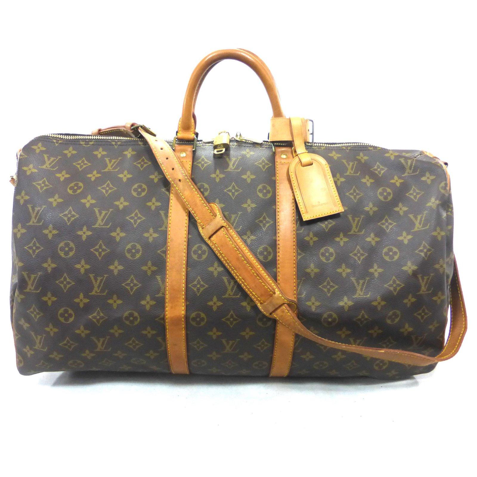 6faf8ccd4b502 Louis Vuitton keepall 55 monogram shoulder strap Travel bag Leather Brown  ref.129266