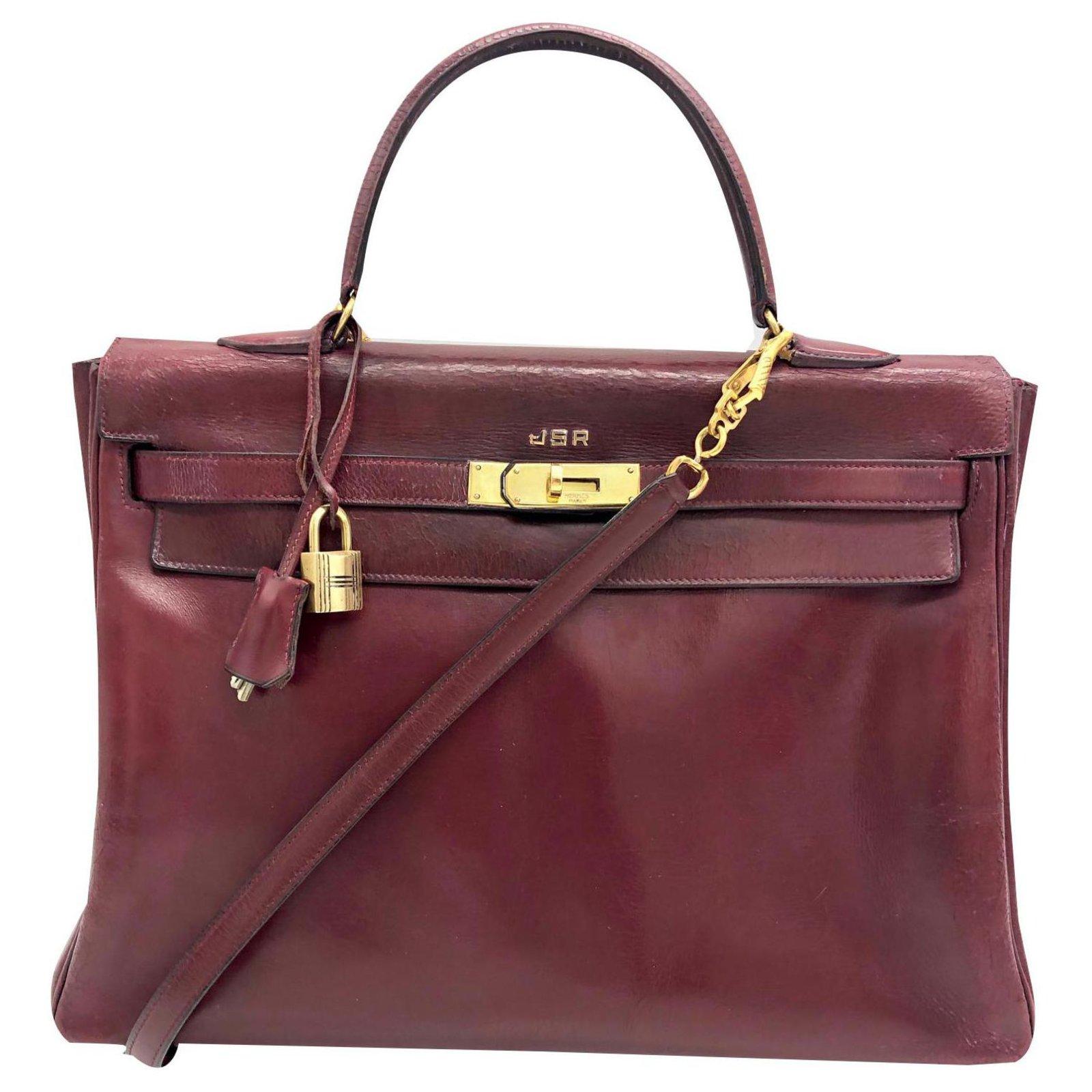 d3ab28560b Sacs à main Hermès kelly 35 CM EN CUIR DE BOX BORDEAUX RETOURNE Cuir Rouge,