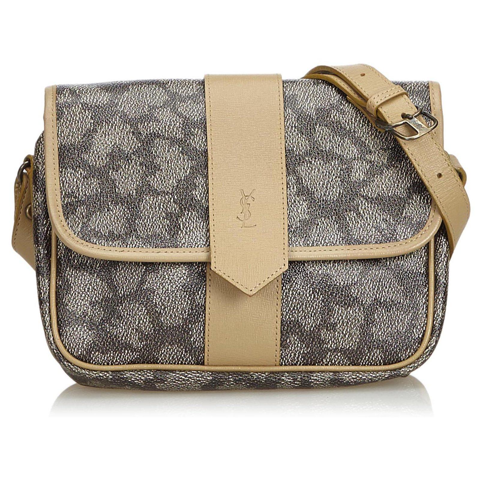 af1fd7a013b Yves Saint Laurent YSL Brown Coated Canvas Crossbody Bag Handbags  Leather,Other,Cloth,