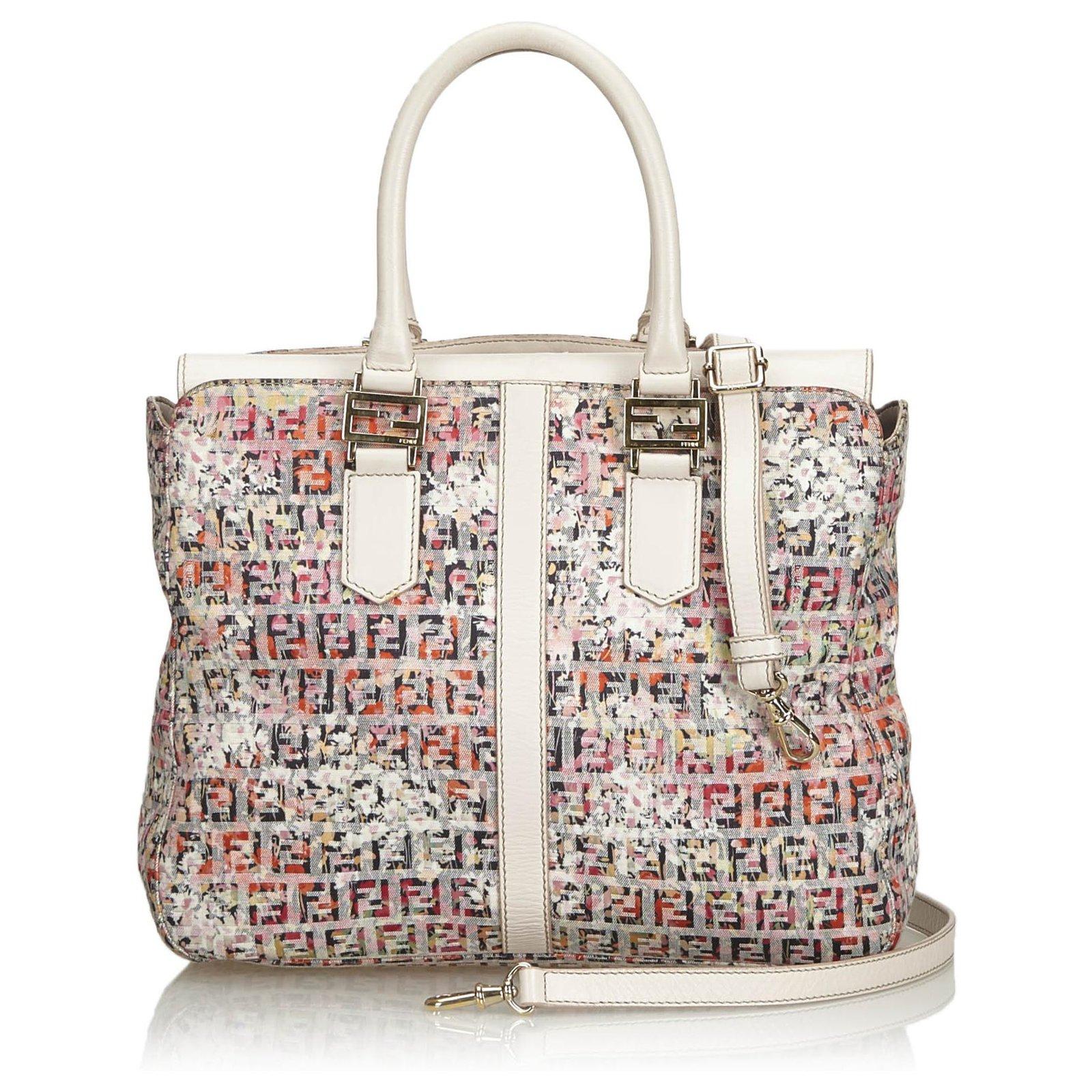 f539cbfccd6 Fendi Pink Zucchino Printed Canvas Handbag