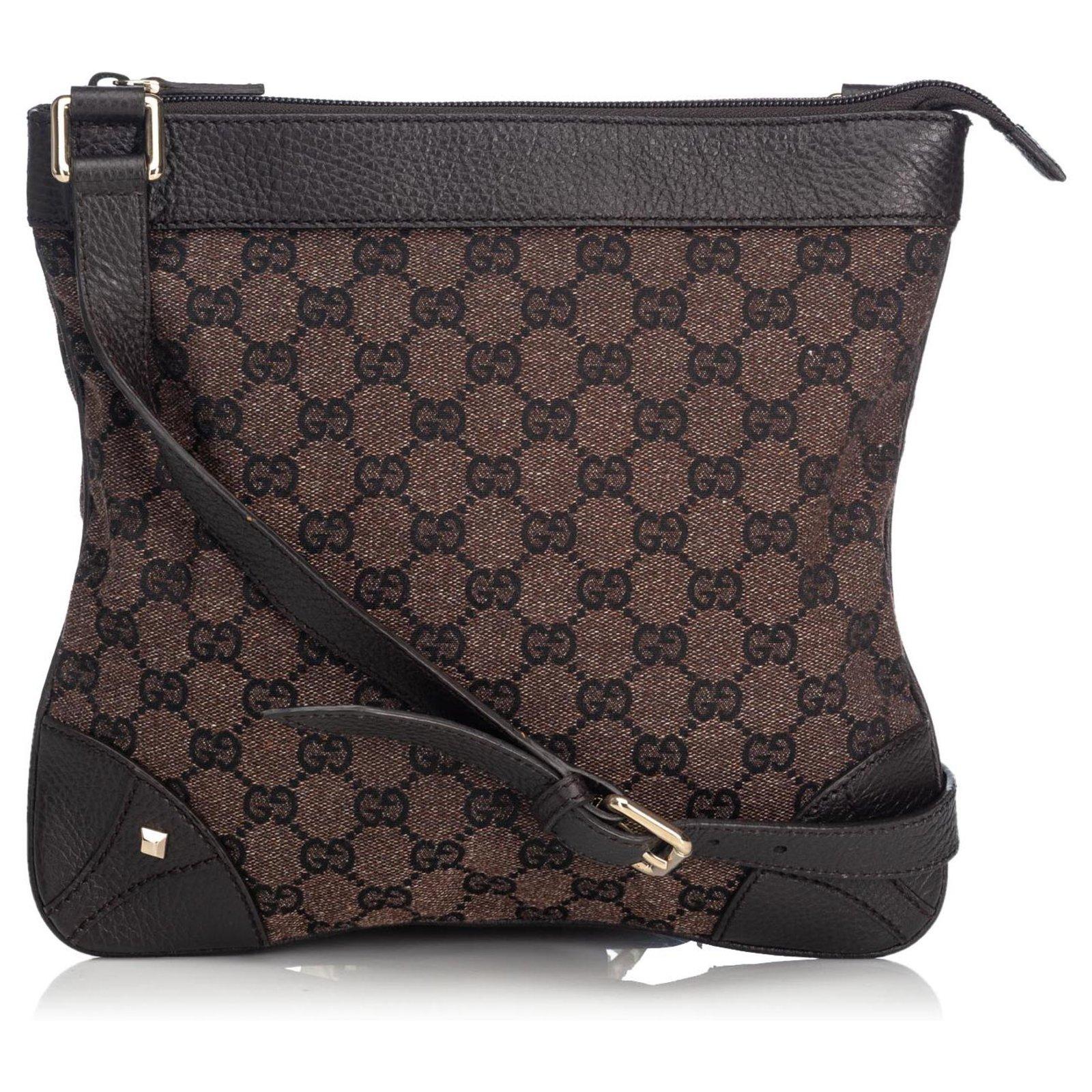 c81f5d19e Gucci Gucci Brown GG Canvas Nailhead Crossbody Bag Handbags Leather,Other,Cloth  Brown,