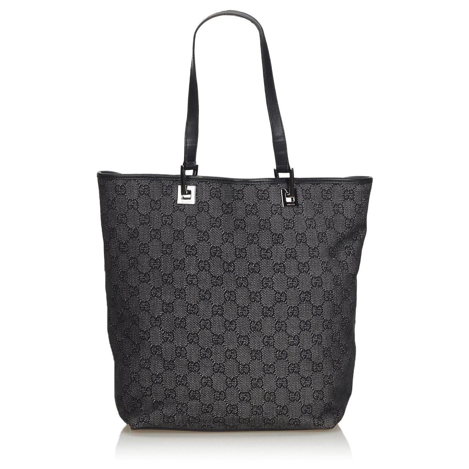 1d13891bd Gucci Gucci Gray GG Jacquard Tote Bag Totes Leather,Other,Cloth Black,Other