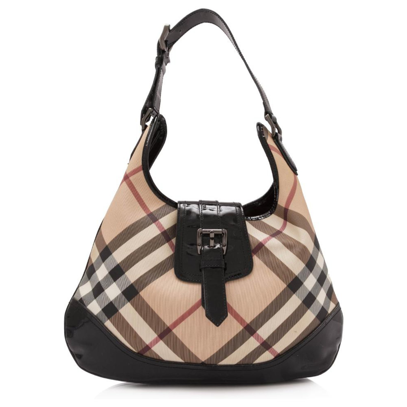 2b75949e69 Burberry Burberry Brown Nova Check Coated Canvas Brooke Hobo Bag Handbags  Leather,Patent leather,