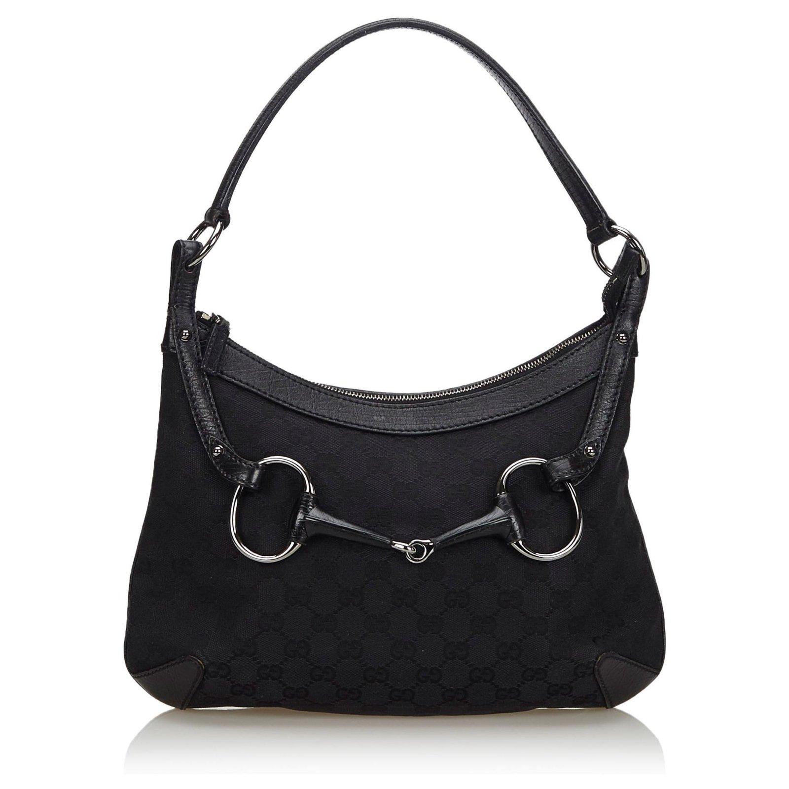 e811d9852 Gucci Gucci Black GG Canvas Horsebit Hobo Bag Handbags Leather,Other ,Cloth,Cloth