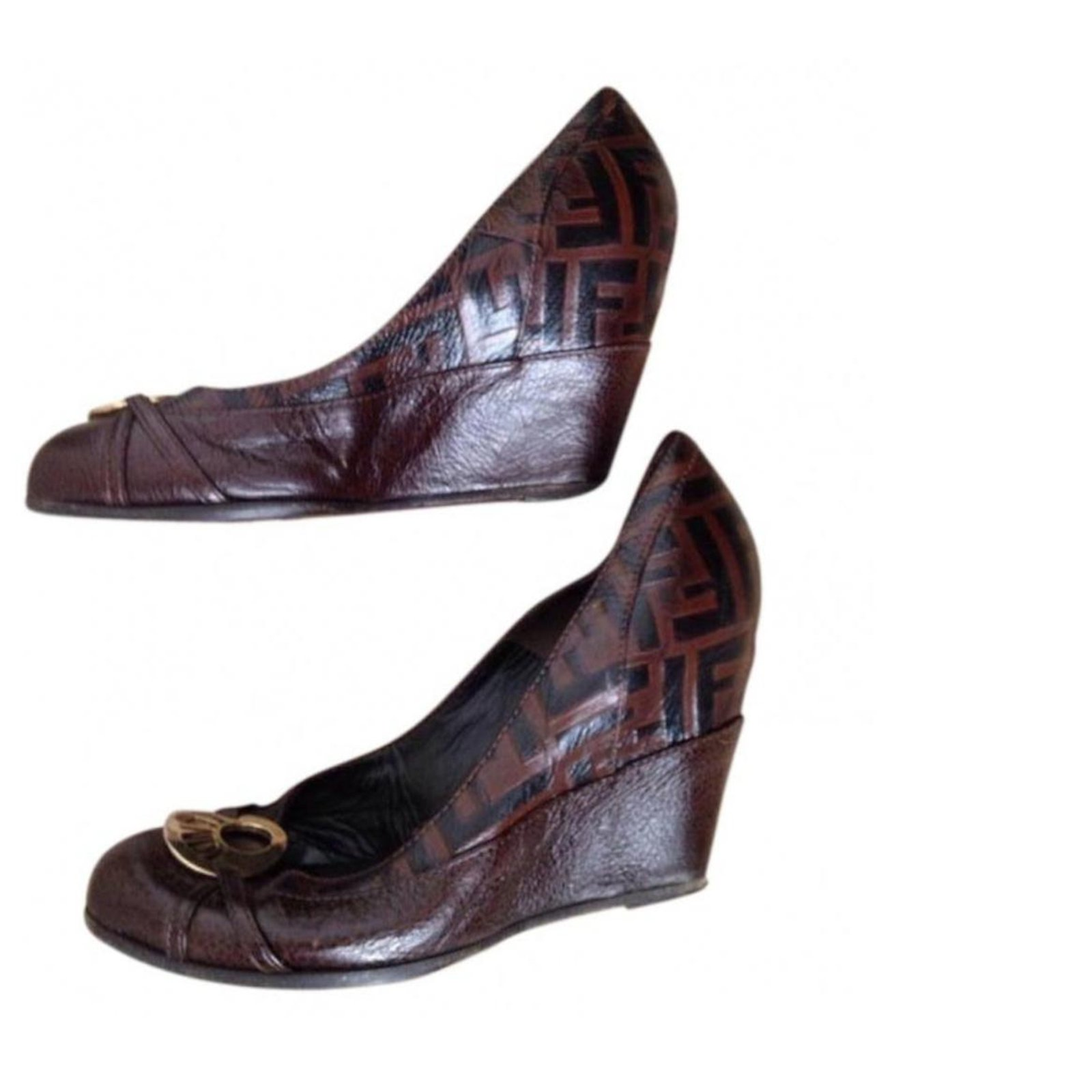 the cheapest on sale store Fendi Fendi shoes offsets Espadrilles Leather Brown ref.135681 ...