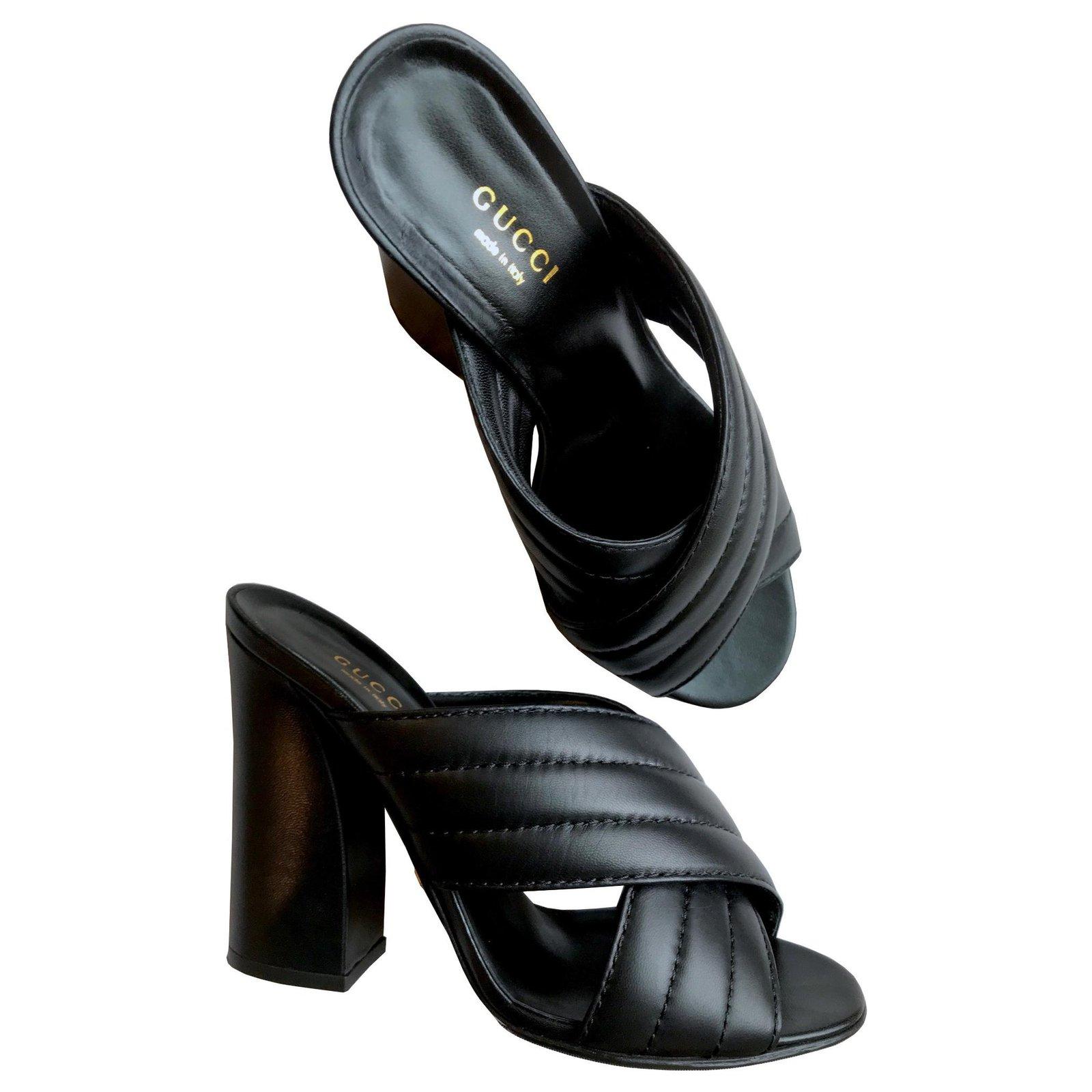 e7b6f3ea7 Gucci Gucci Webby Heels w/ Gucci box Heels Leather Black ref.136029 ...