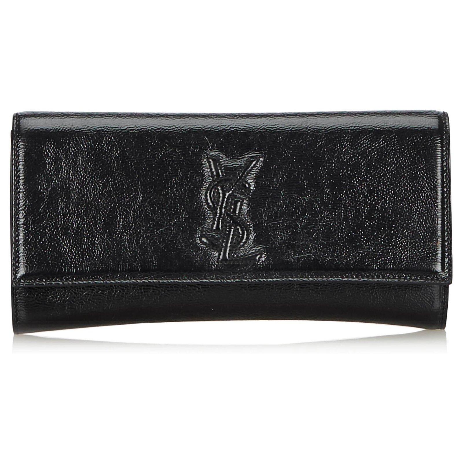 89d937e15f0 Yves Saint Laurent YSL Black Belle du Jour Patent Leather Clutch Bag Clutch  bags Leather,