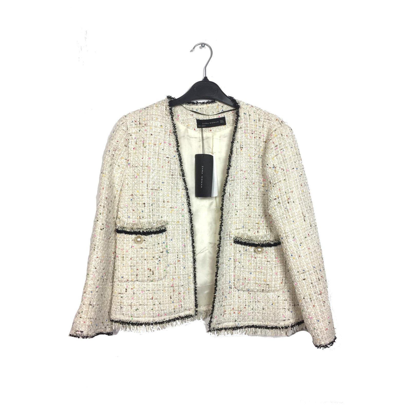 Vestes Zara Veste à paillettes Tweed Tweed Noir,Crème ref