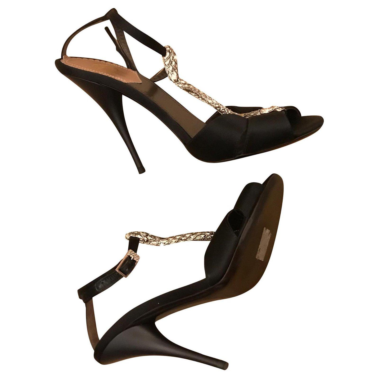 Roberto Cavalli Snake Heels Sandals