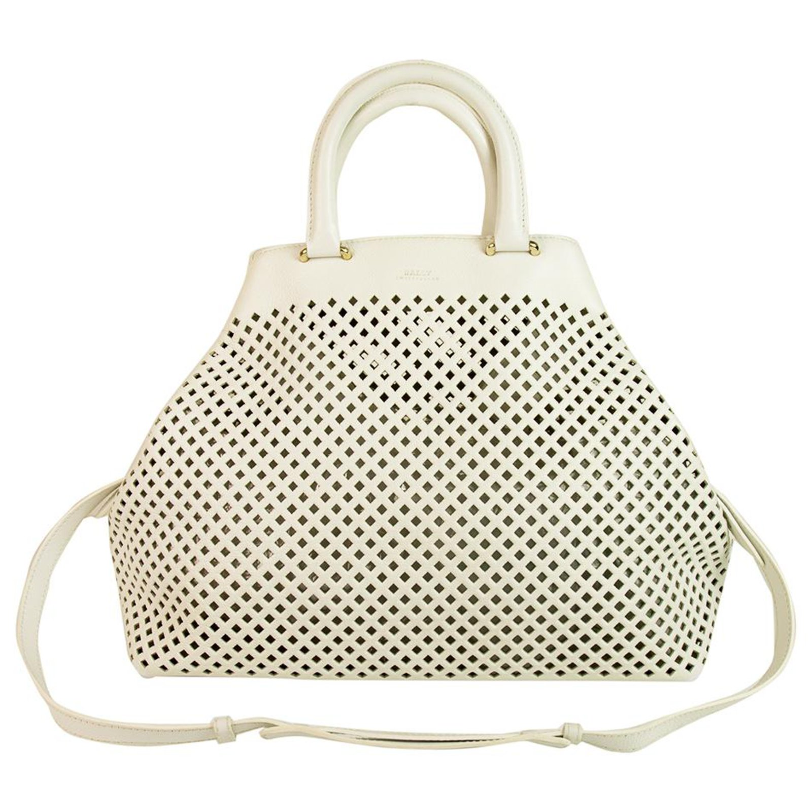 Bally White Perforated Leather