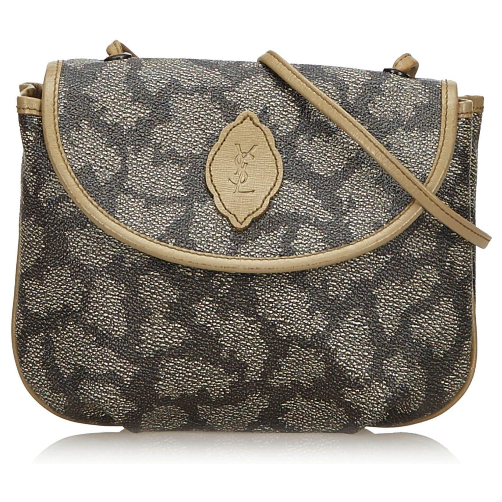9b2bf6a4 YSL Gray Coated Canvas Crossbody Bag