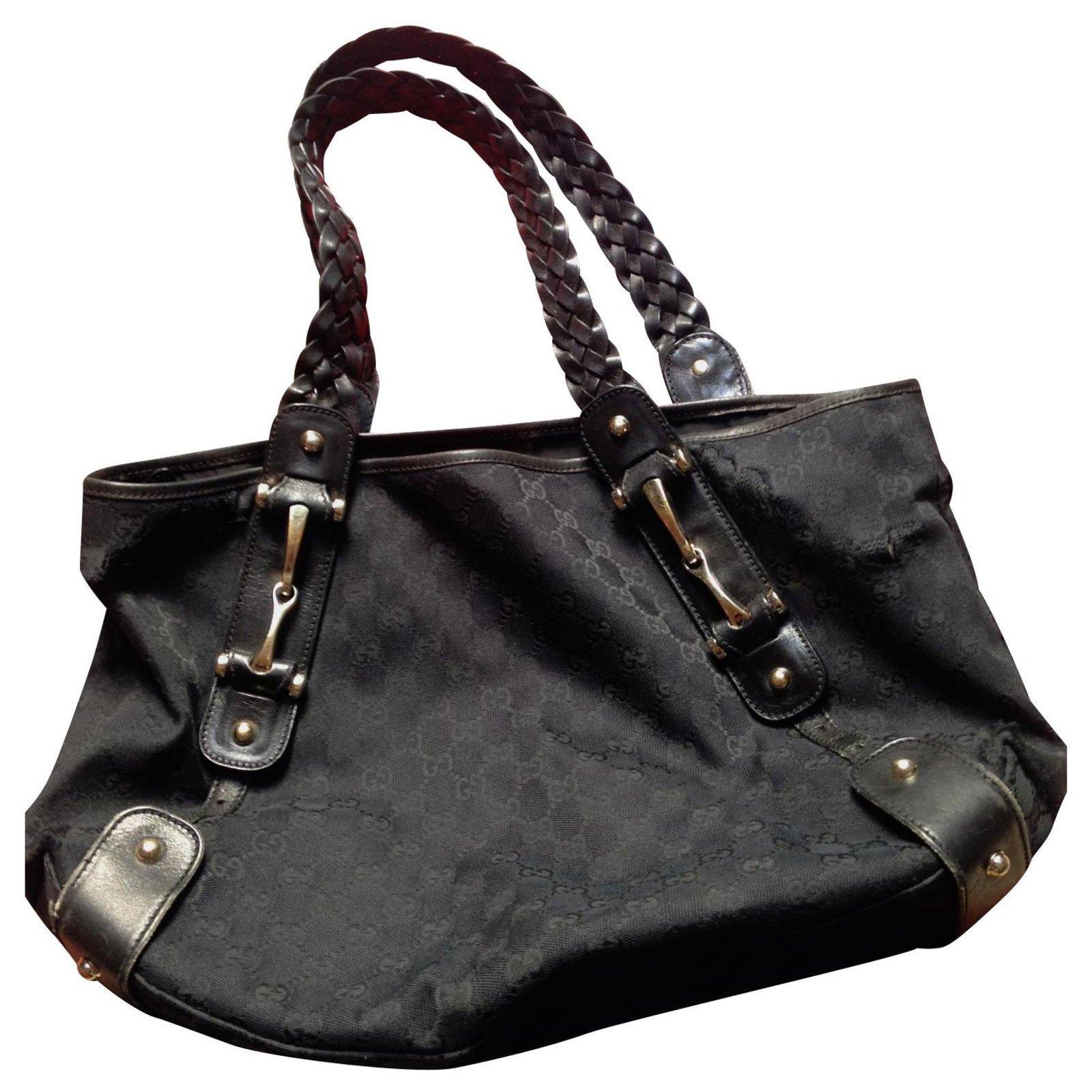 Gucci Hobo Handbags Cloth Black