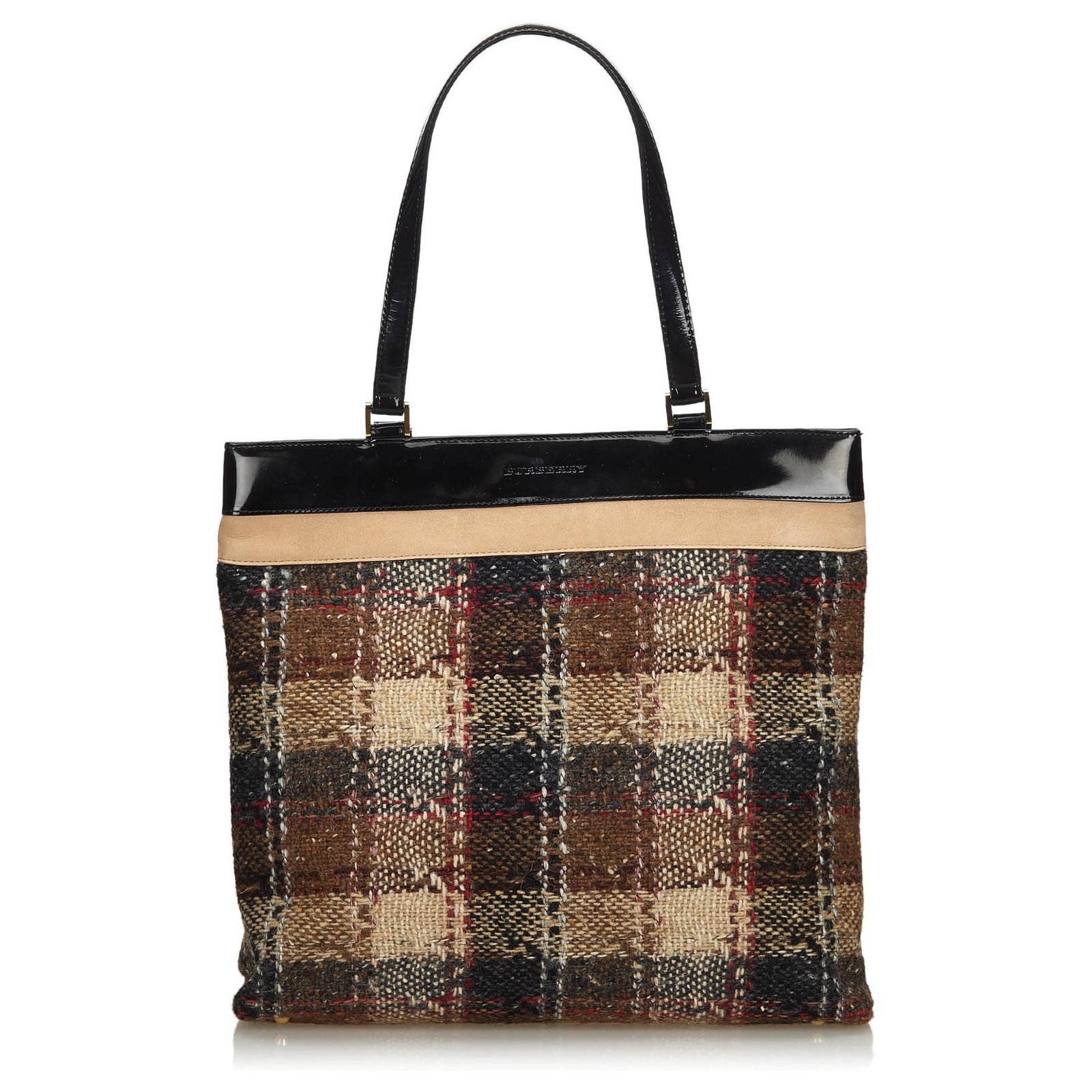 Burberry Brown Wool Tote Bag Totes Leather Patent