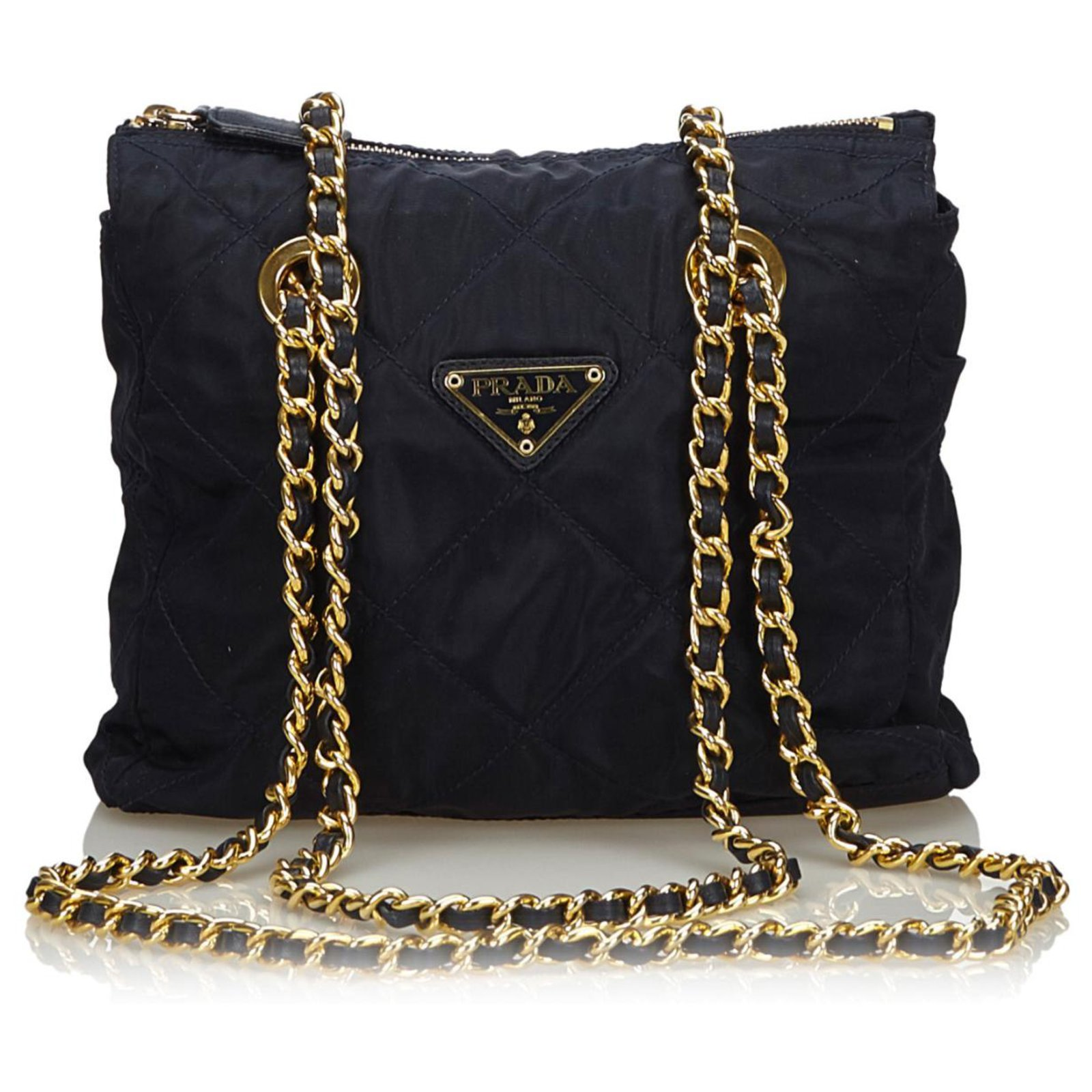 Womens Luxury Nylon and Real Leather Metal Chain Shoulder 3 in 1 Bag