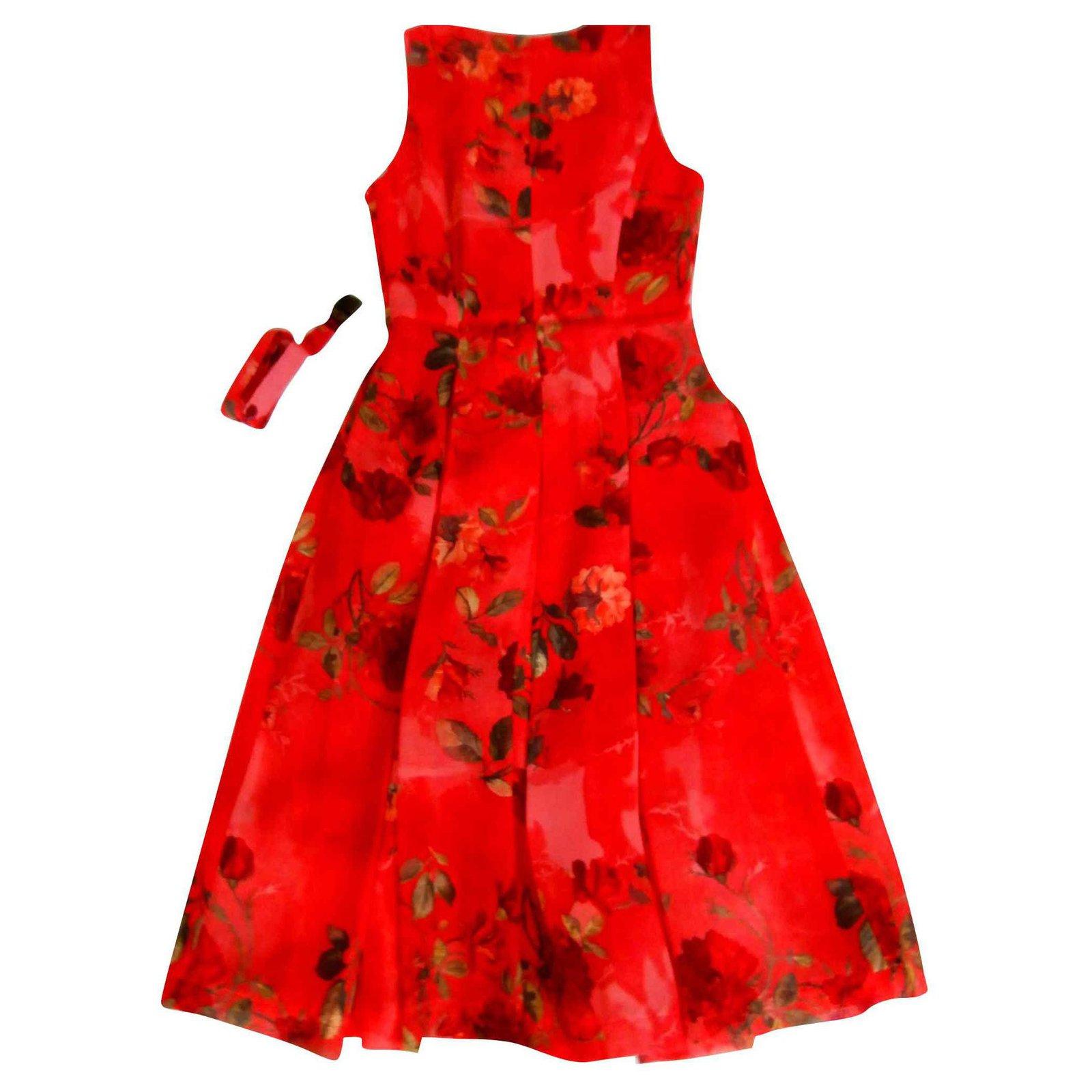 Zapa Kleid Rot Mit Blumenmuster Viskose Ref 139749 Joli Closet