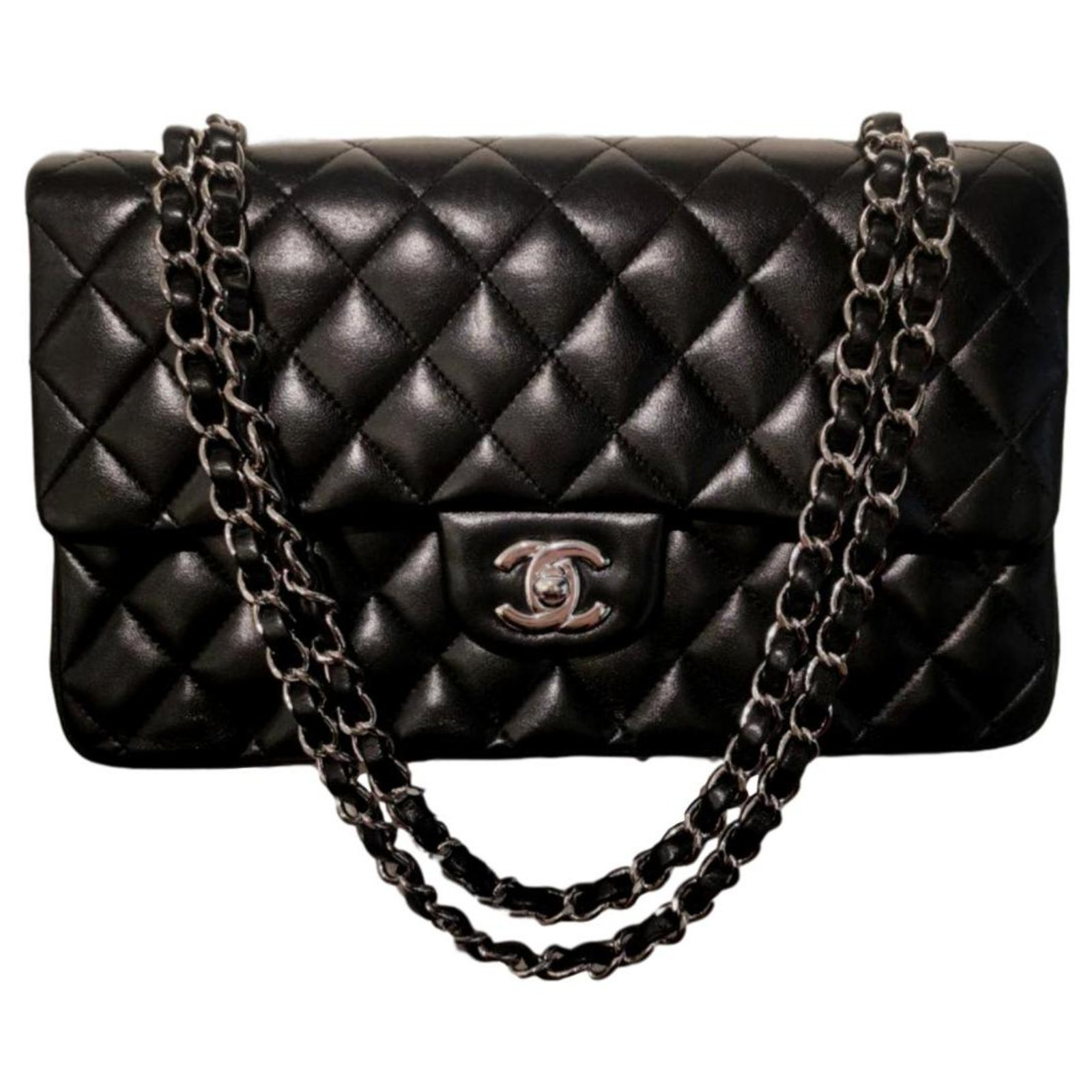 better in stock outlet boutique Chanel Chanel black lambskin medium classic flap bag GHW Handbags ...