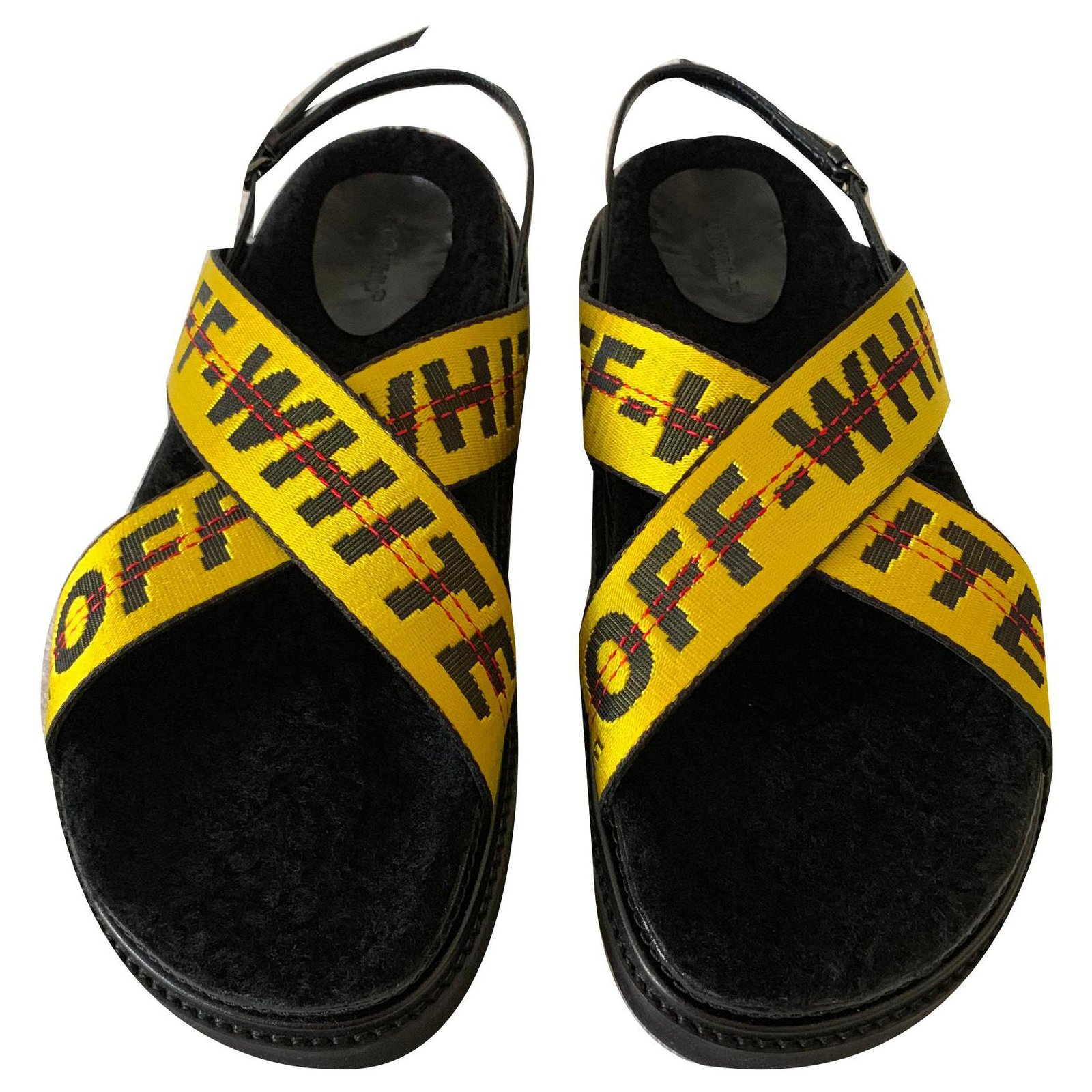 Off White Leather and fur sandals