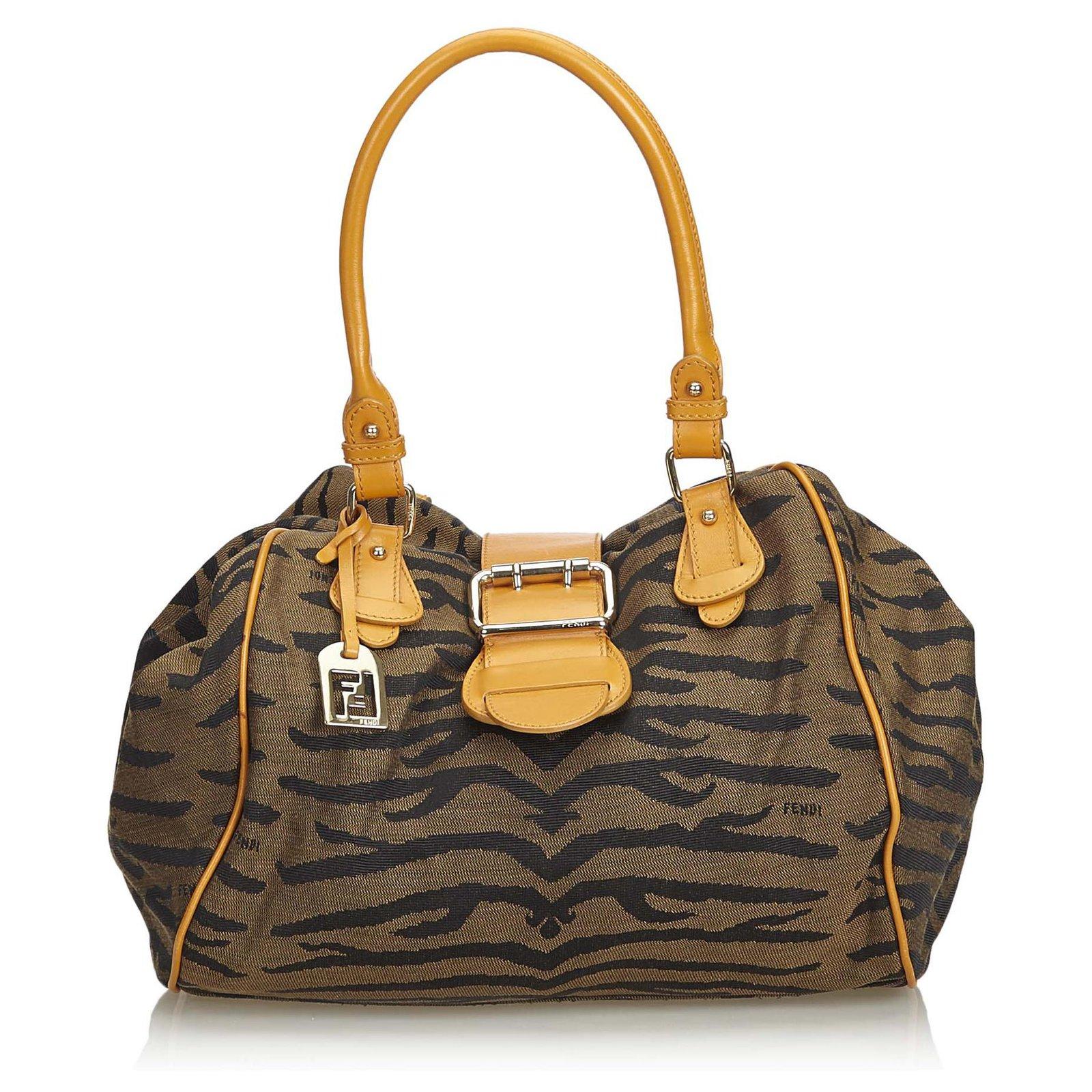 huge selection of newest cheap for discount Fendi Fendi Brown upperr Print Jacquard Handbag Handbags Leather ...