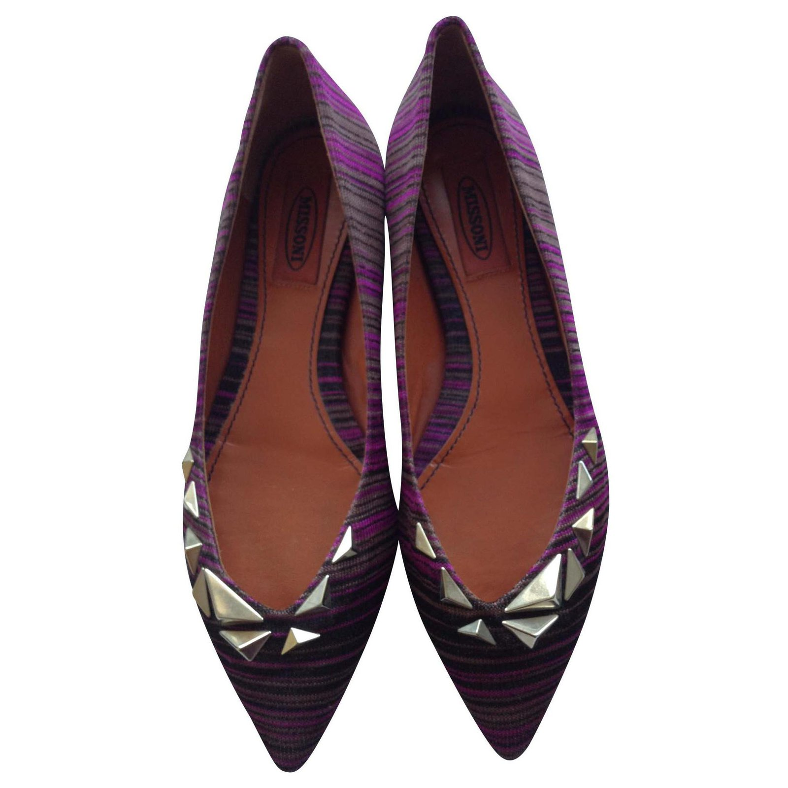 later sells special sales Missoni Pointed Toe Studded Ballet Flats Ballet flats Leather ...