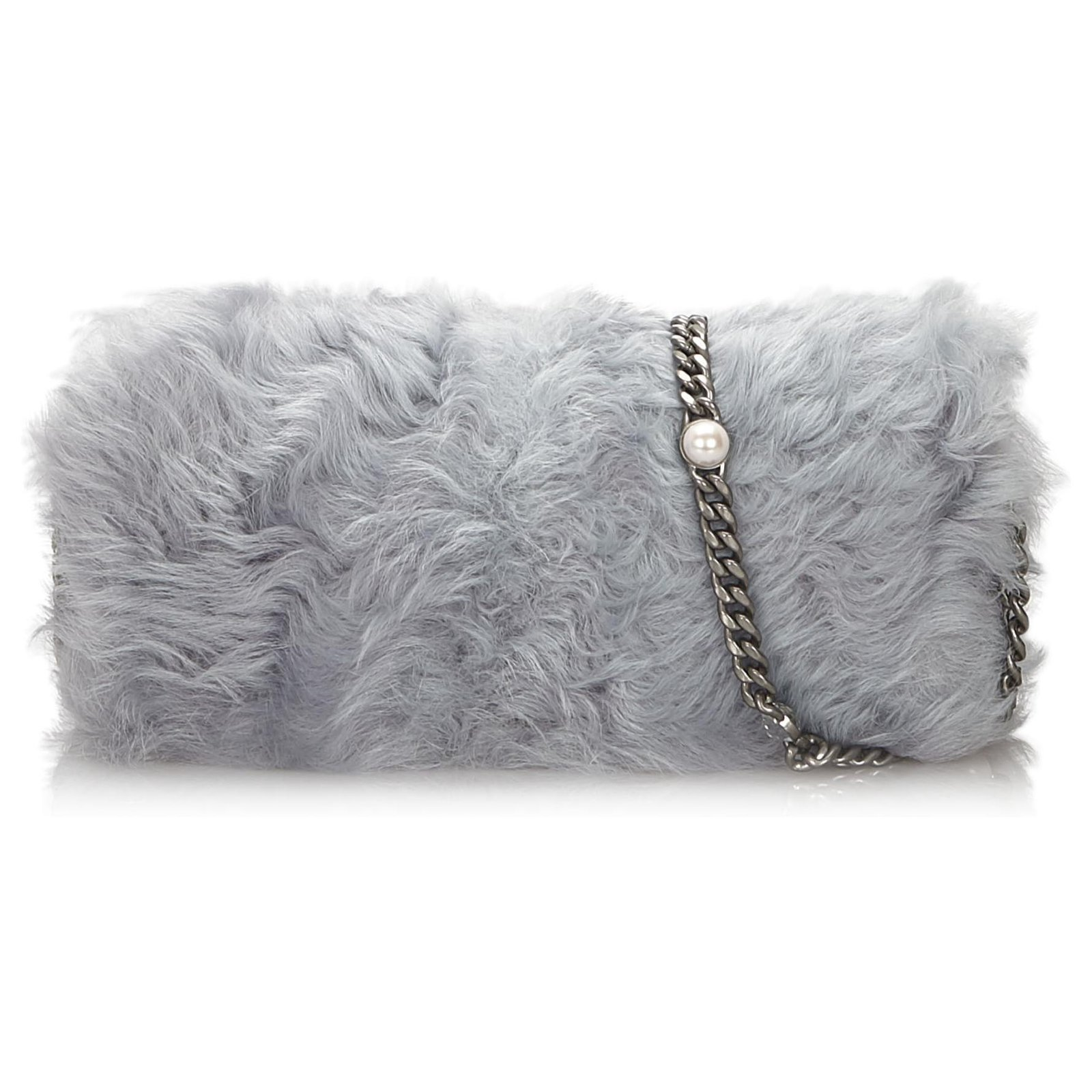Miu Miu Sac à bandoulière en cristal avec fourrure grise