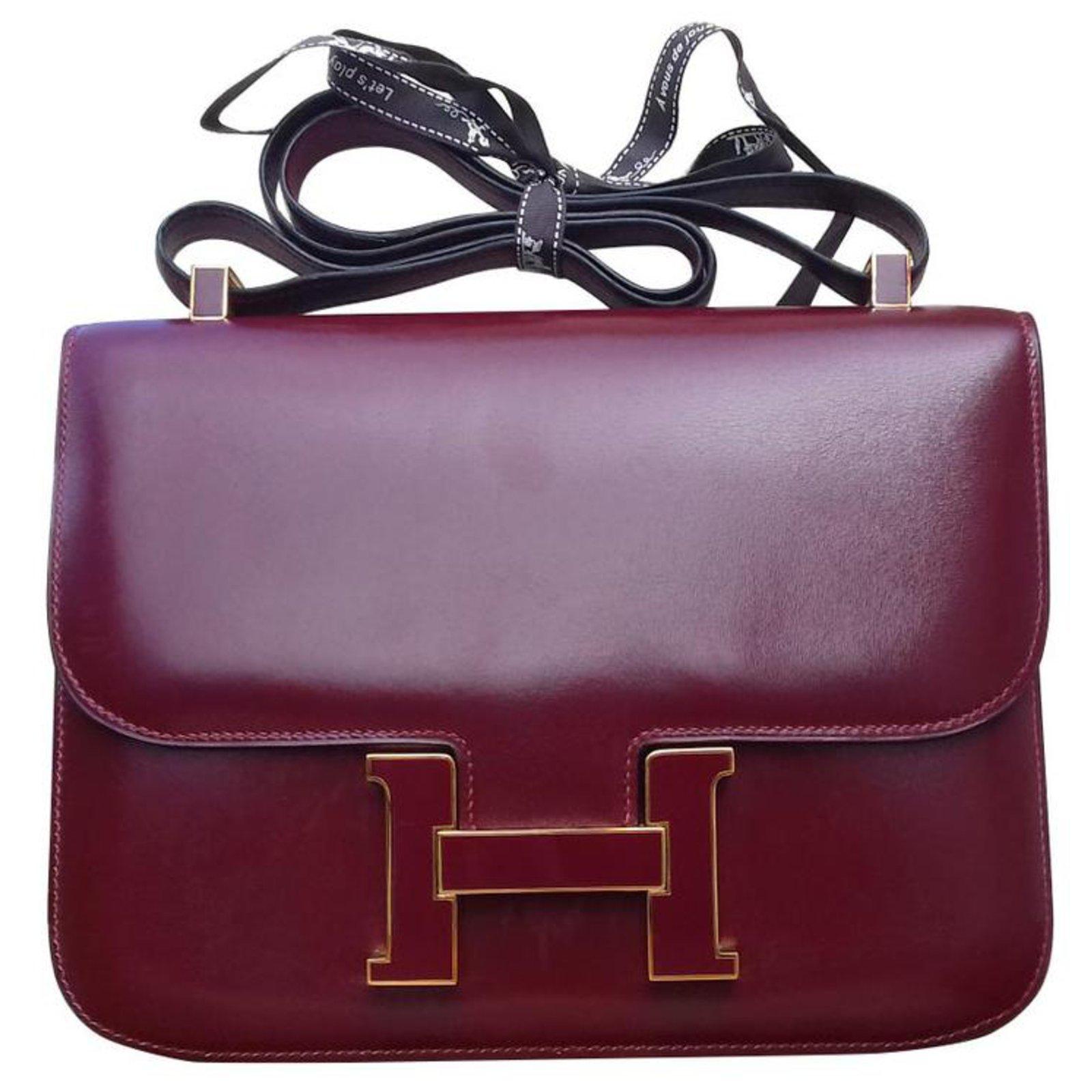 Sac à main Hermès Constance Box Rouge H 23 cm Boucle émaillée