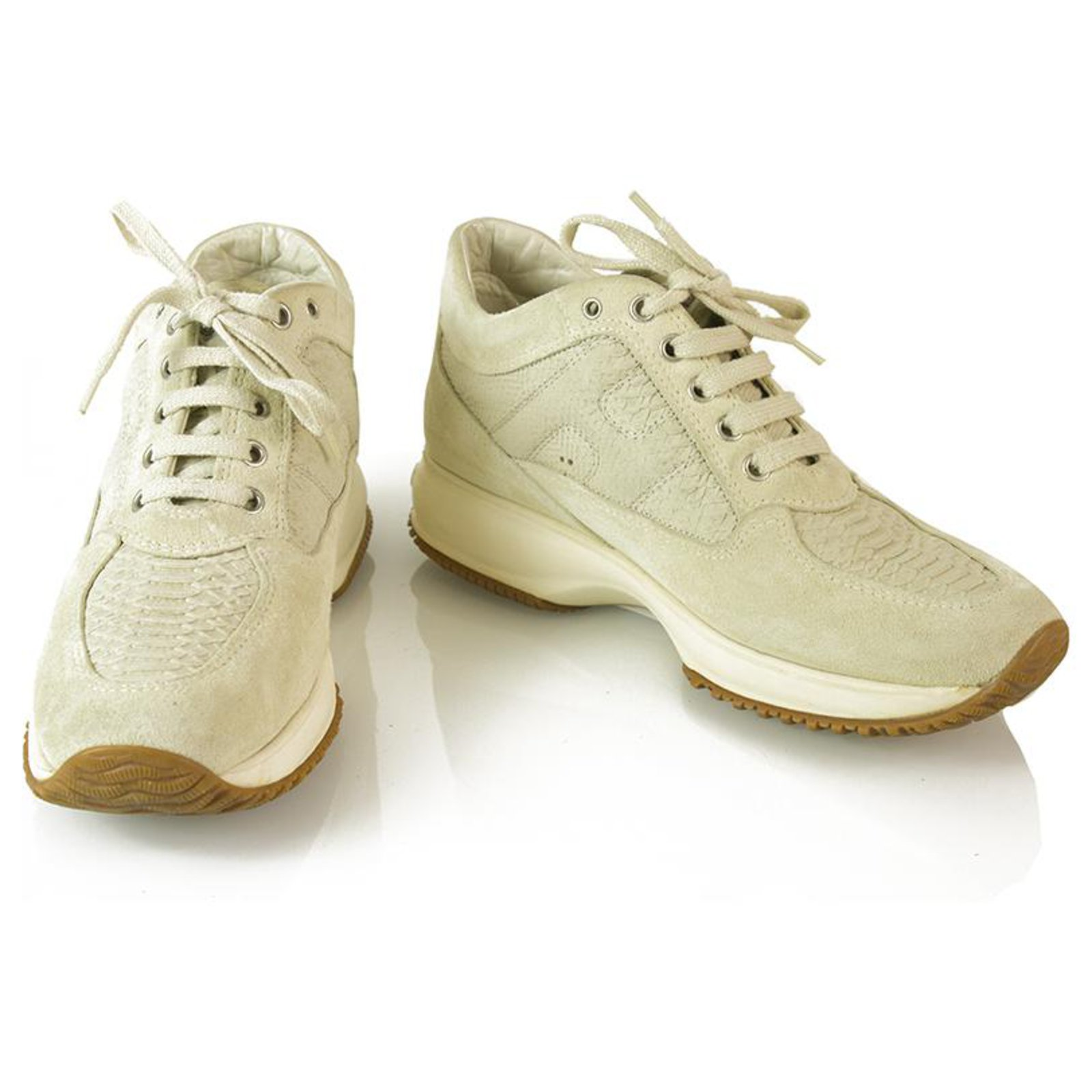 HOGAN Interactive By TOD'S Ecru Suede Shoes Sneakers Trainers ...