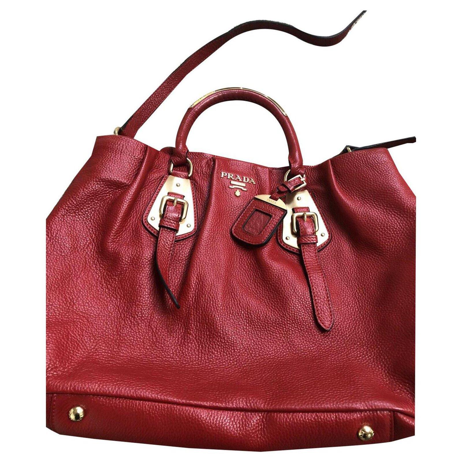 Prada Bag Handbags Leather Red