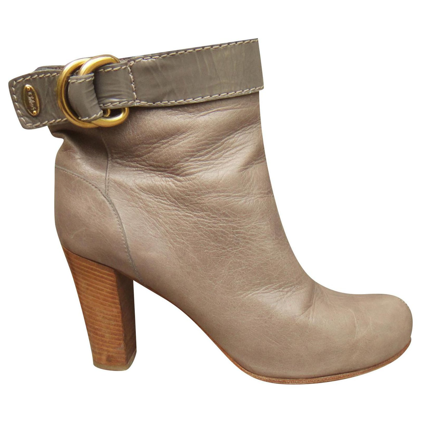 sale usa online huge sale official shop Chloé Chloé ankle boots 38 Ankle Boots Leather Taupe ref.162599 ...