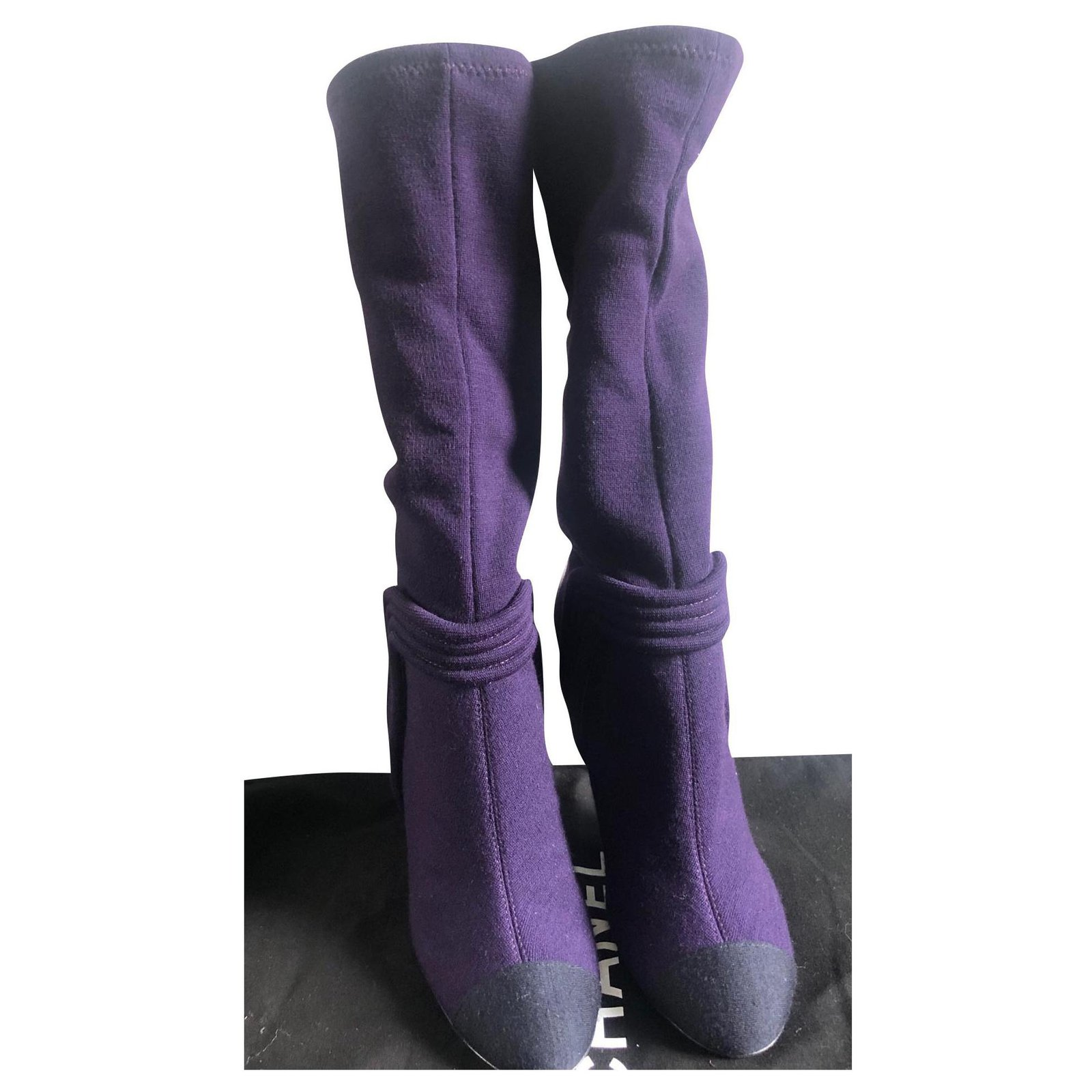 Chanel Boots Boots Leather Purple ref