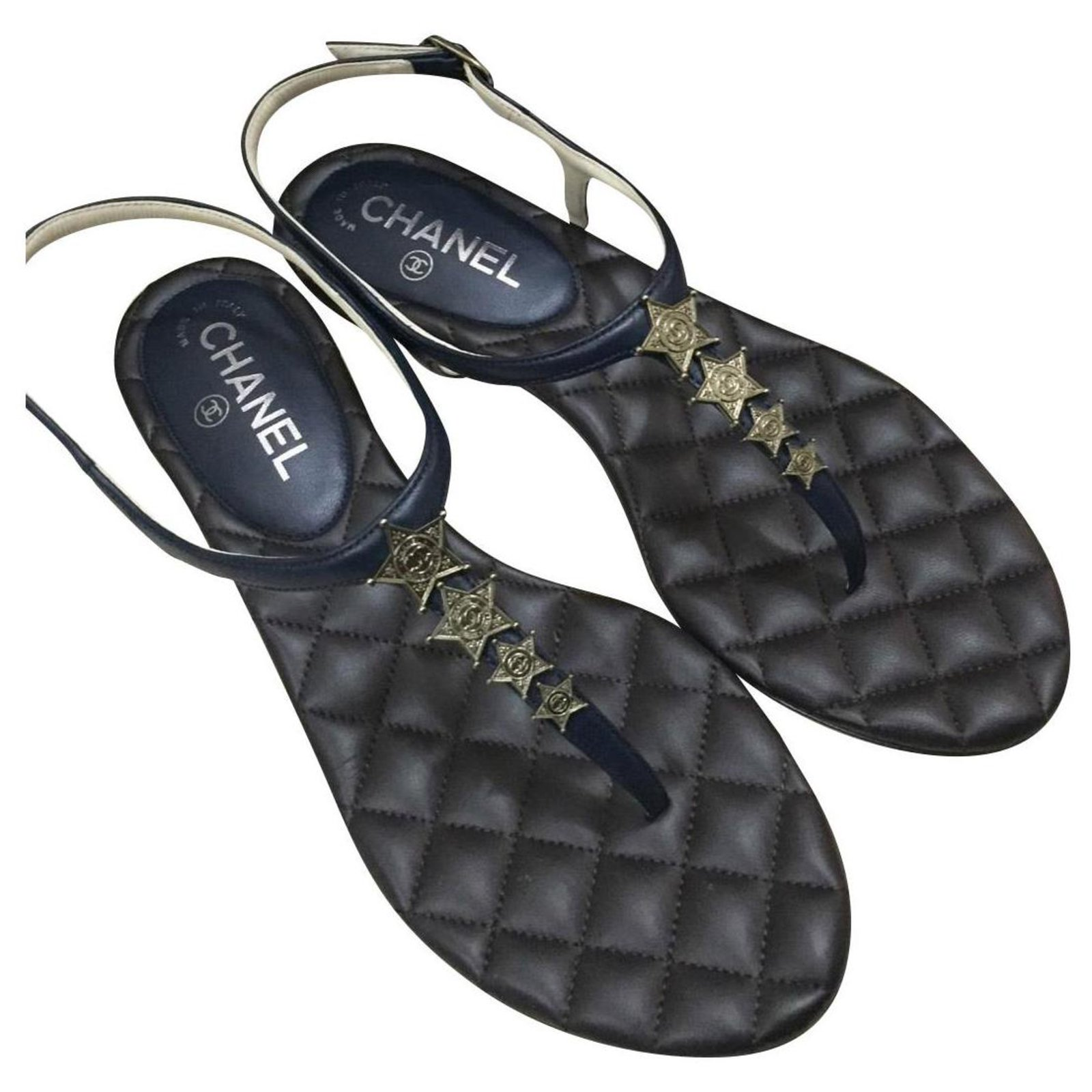 Chanel Sandals Sandals Leather Blue ref