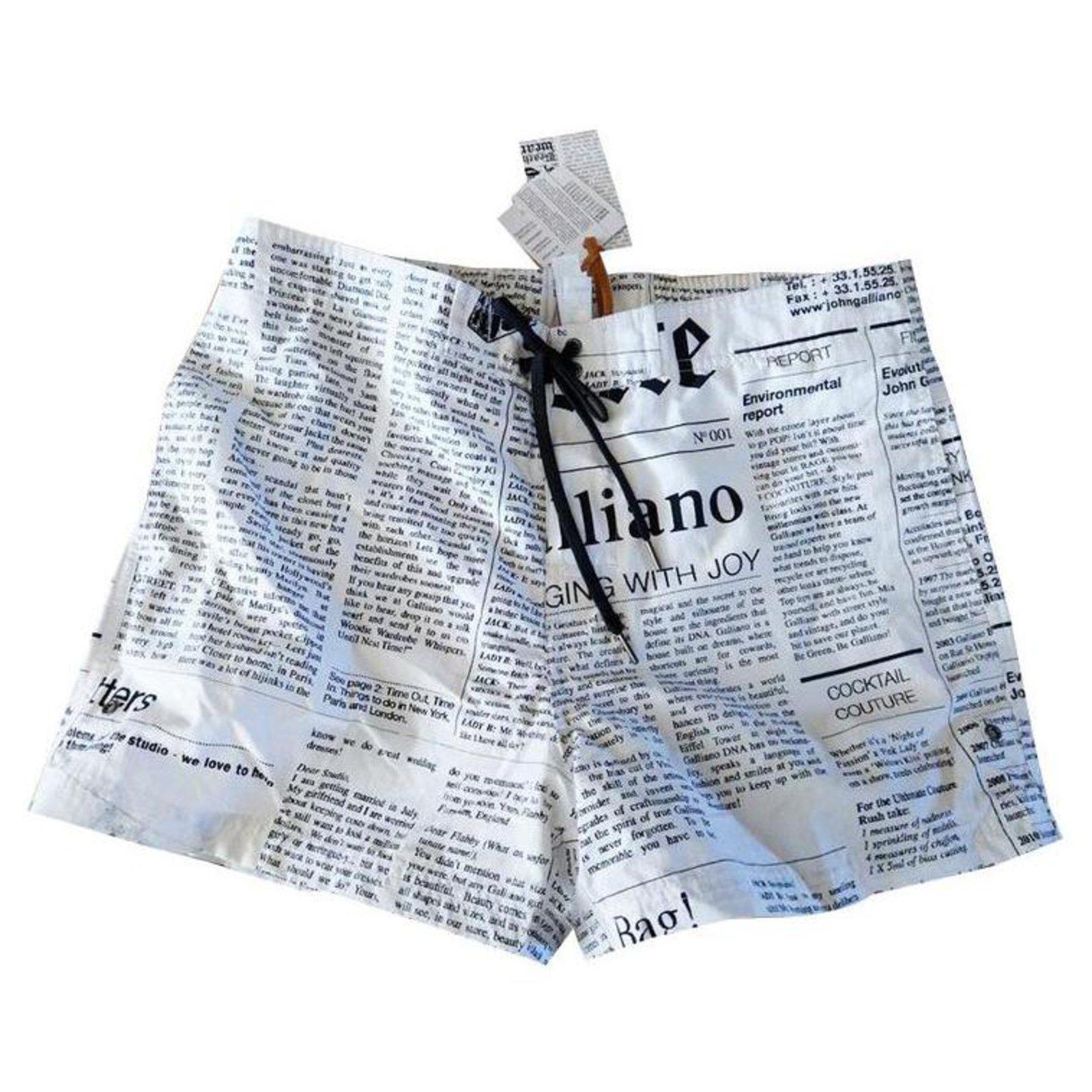 John Galliano men/'s lettering print swim shorts