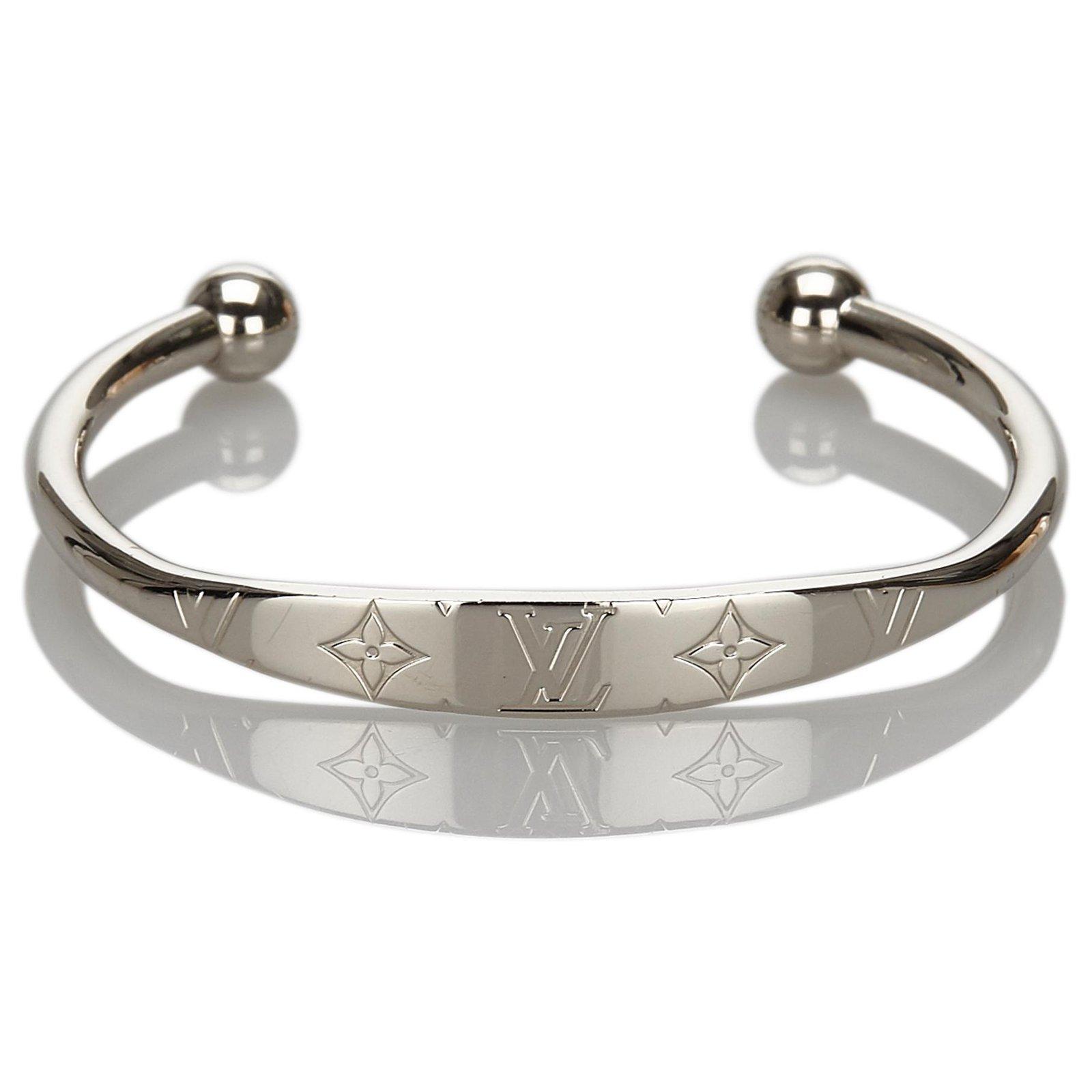 Silver Monogram Jonc Bangle Bracelets