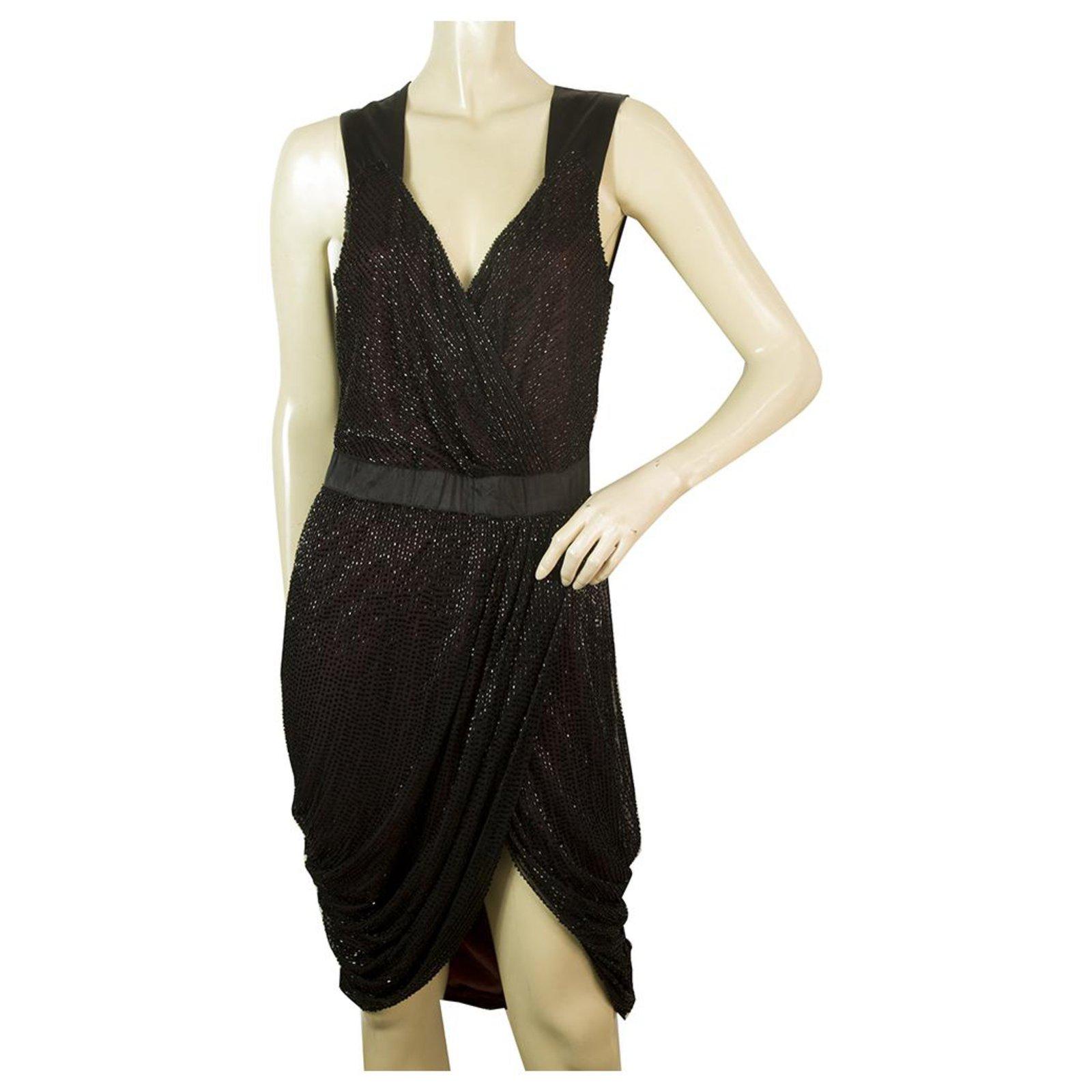 Robes Pinko Pinko Black Mini Robe Tulipe Drapee Sans Manches Avec Perles Sz 44 Polyamide Noir Ref 172636 Joli Closet