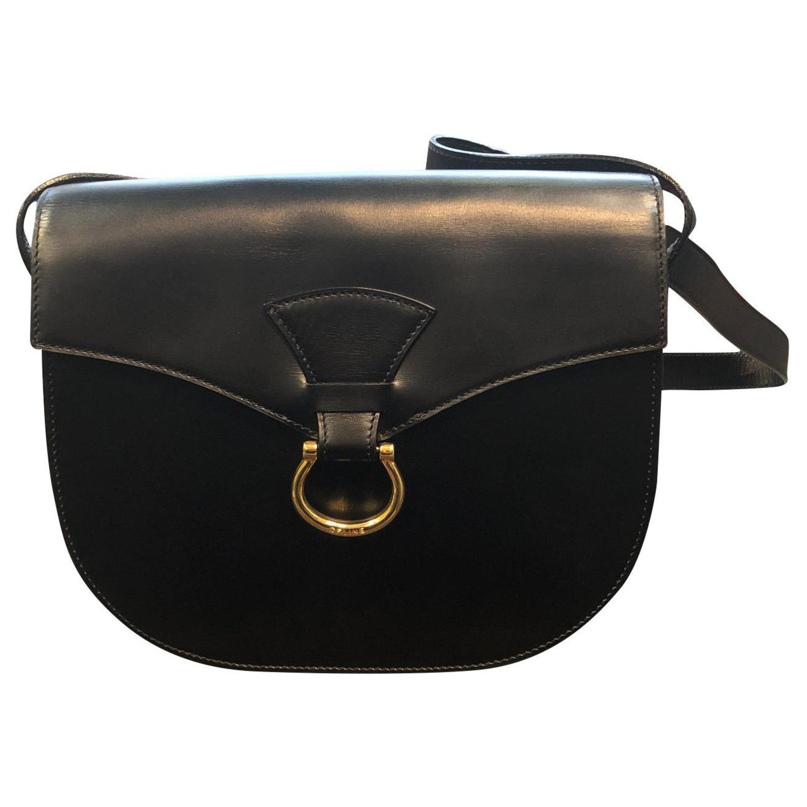 Céline Handbags Leather Black