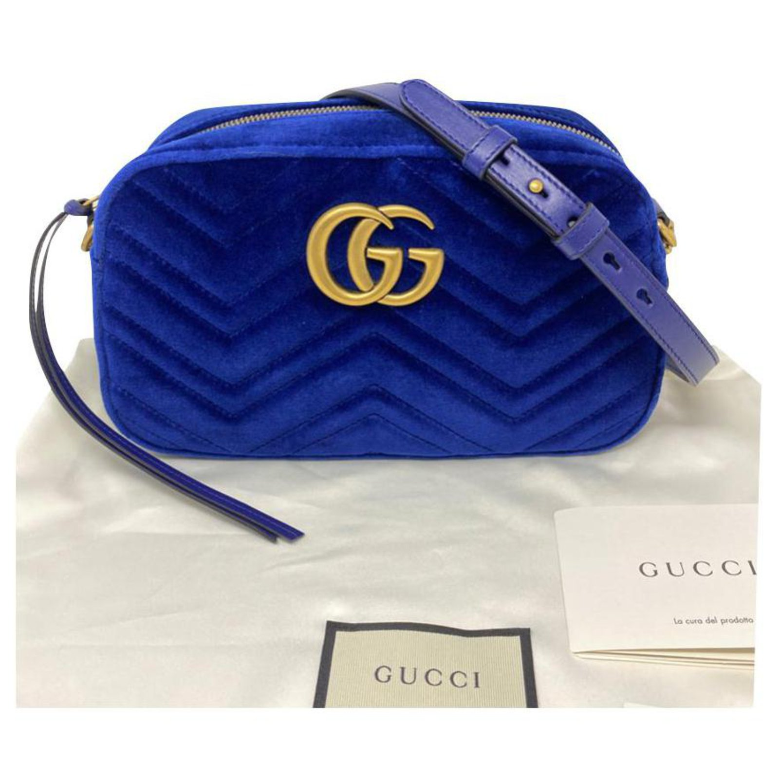 Gucci Gucci Marmont Camera Bag Handbags Velvet Blue Ref 181822 Joli Closet