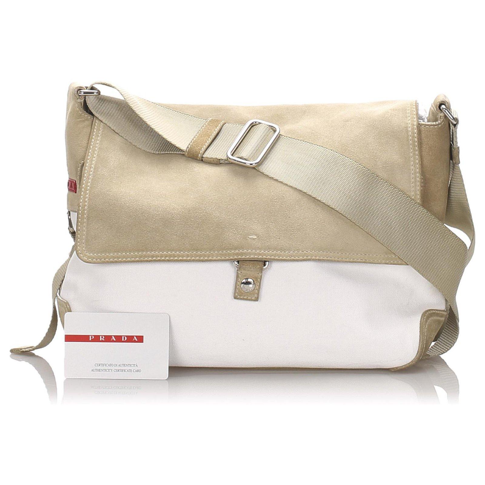Prada White Canvas Crossbody Bag