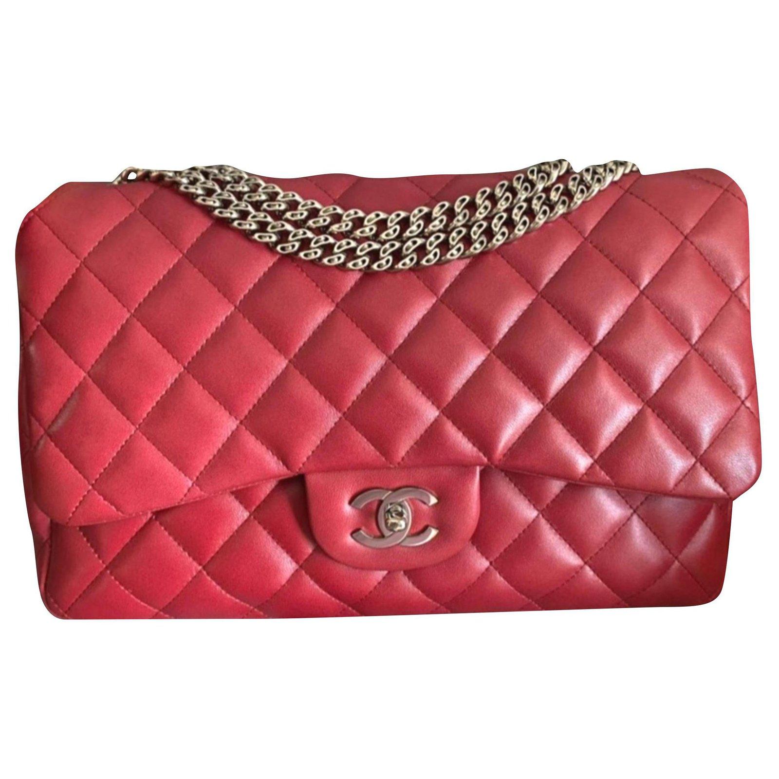 Red Jumbo Bijoux Chain Classic Flap Bag