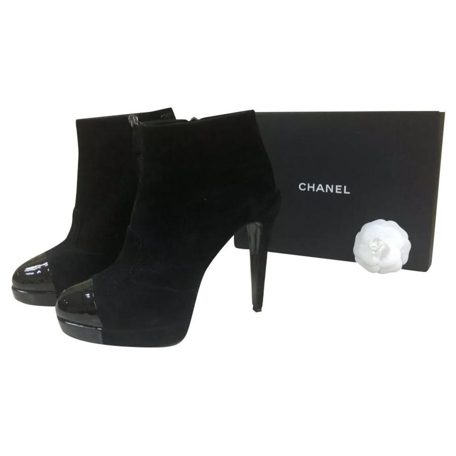 Chanel Chanel Black Suede Patent