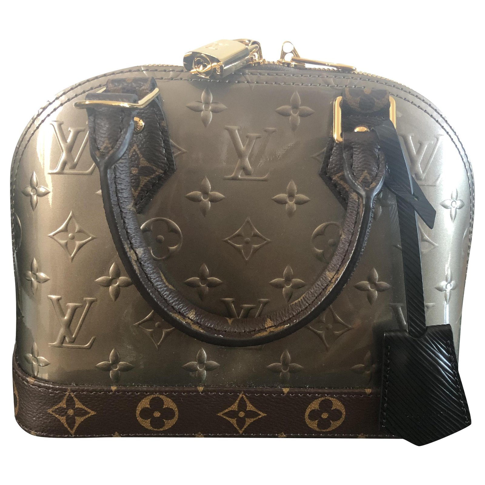 Louis Vuitton Alma Bb Limited Edition Handbags Patent Leather Brown Black Silvery Gold Hardware Ref 207594 Joli Closet