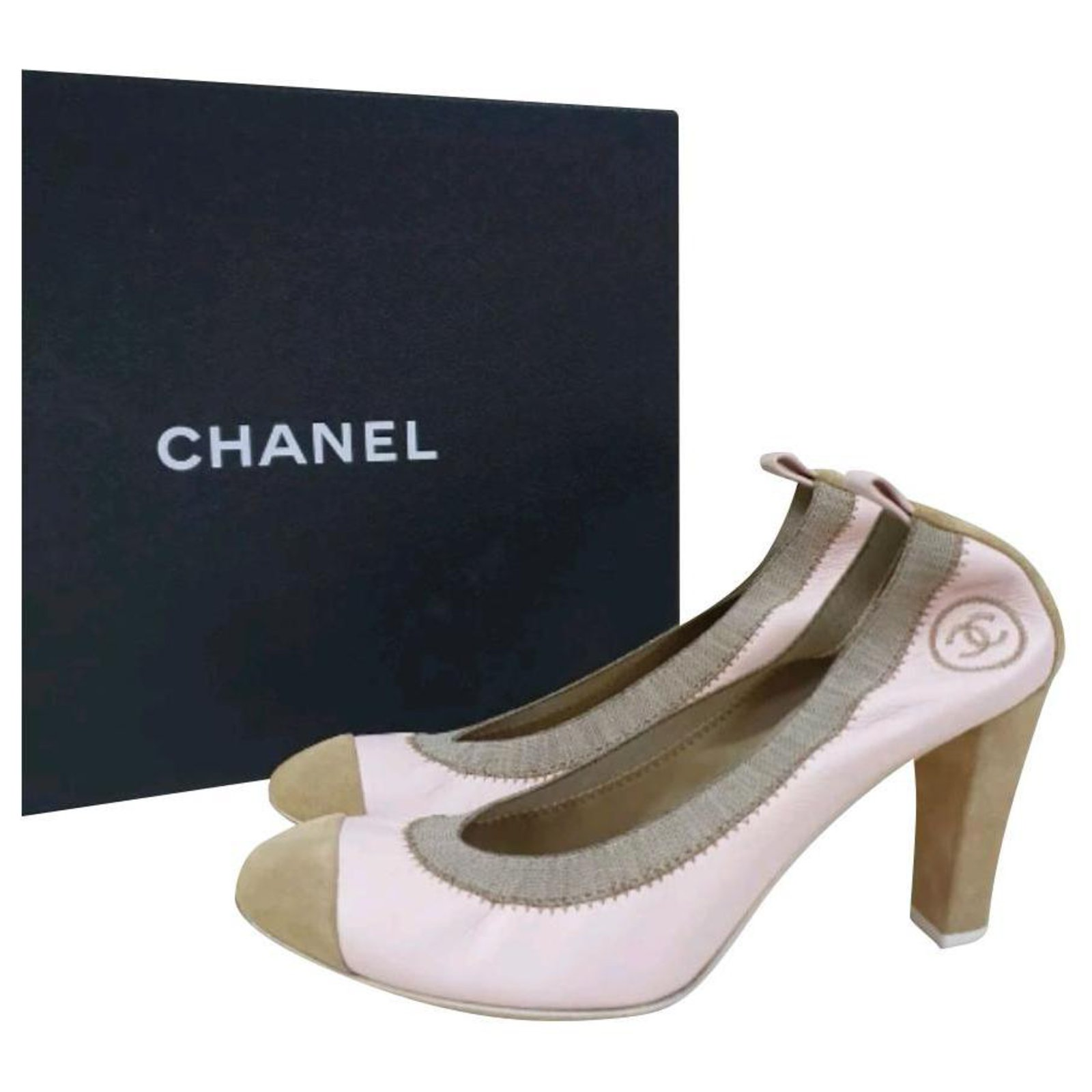 Chanel Chanel Beige Suede Leather Pumps