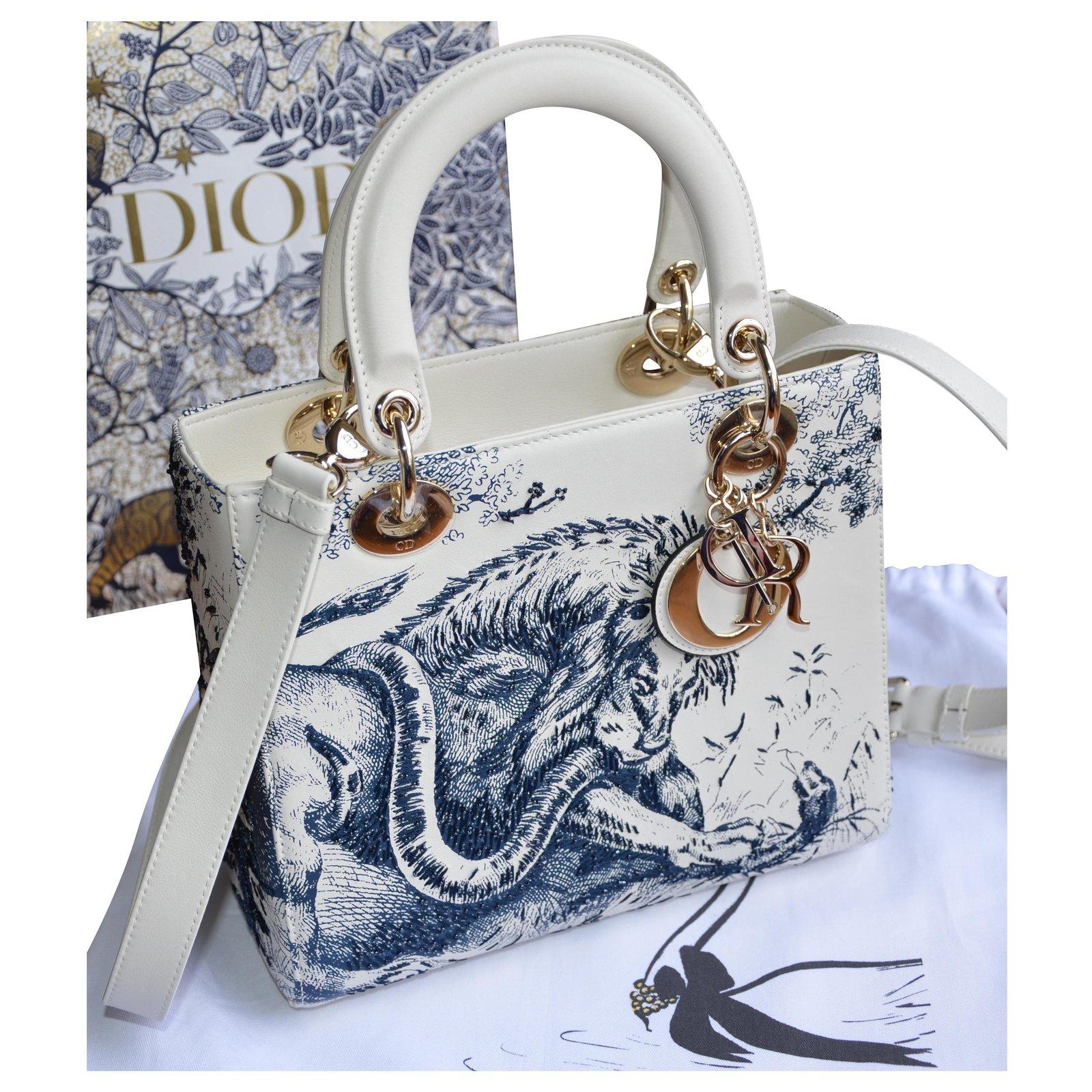 Dior Christian Dior Lady Dior bag with Toile de Jouy motif Handbags Leather  White,Golden,Eggshell,Dark blue ref.225262 - Joli Closet