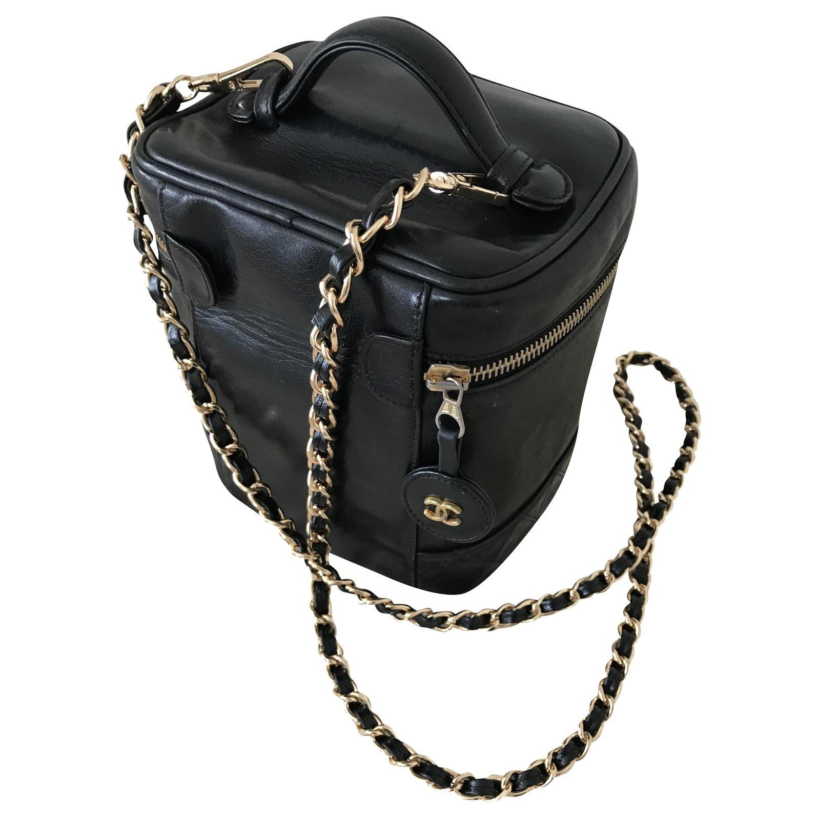 Chanel Vintage Vanity Handbags Leather Black Ref 227013 Joli Closet