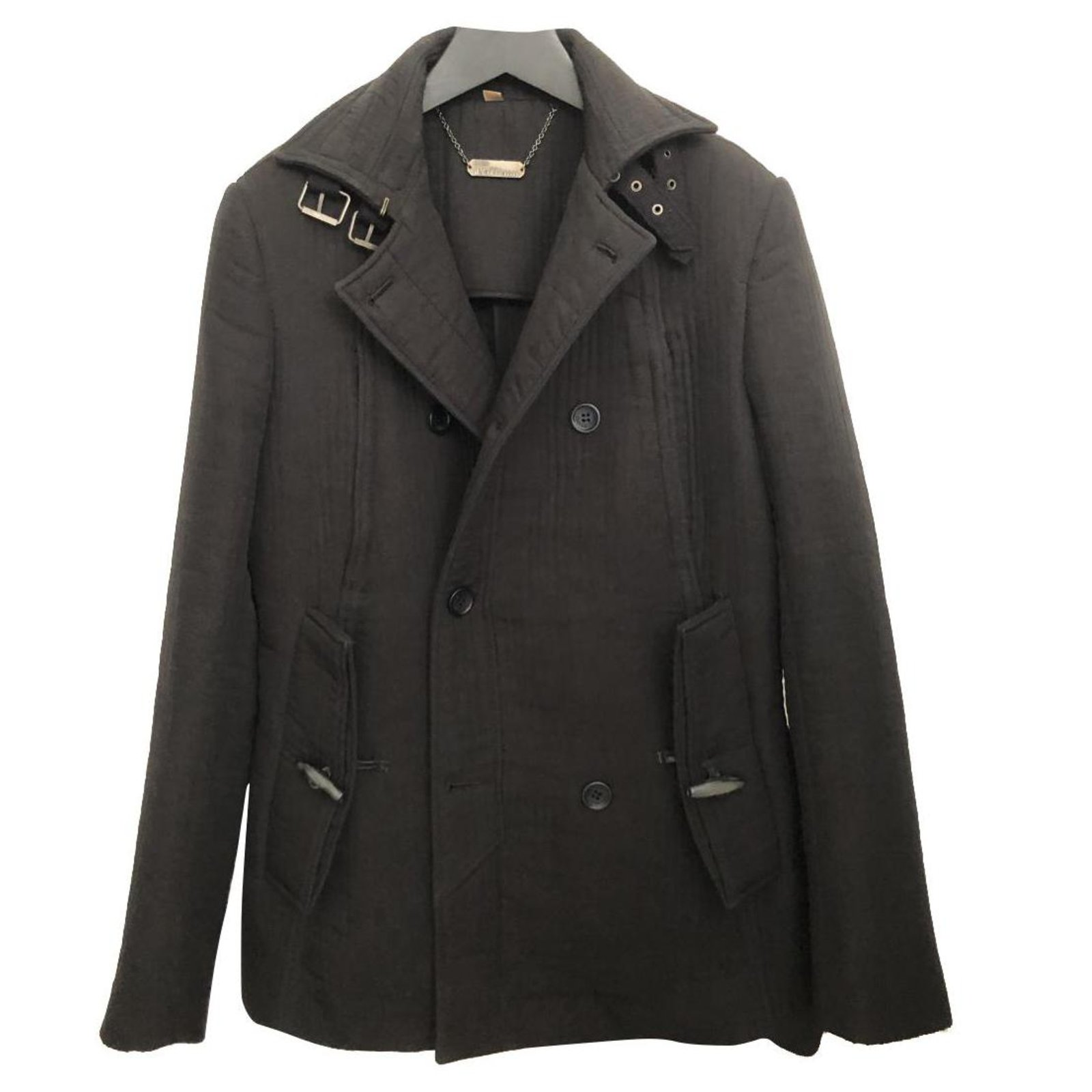 Very Nice Black Quilted Cotton Pea Coat, Black Cotton Pea Coat